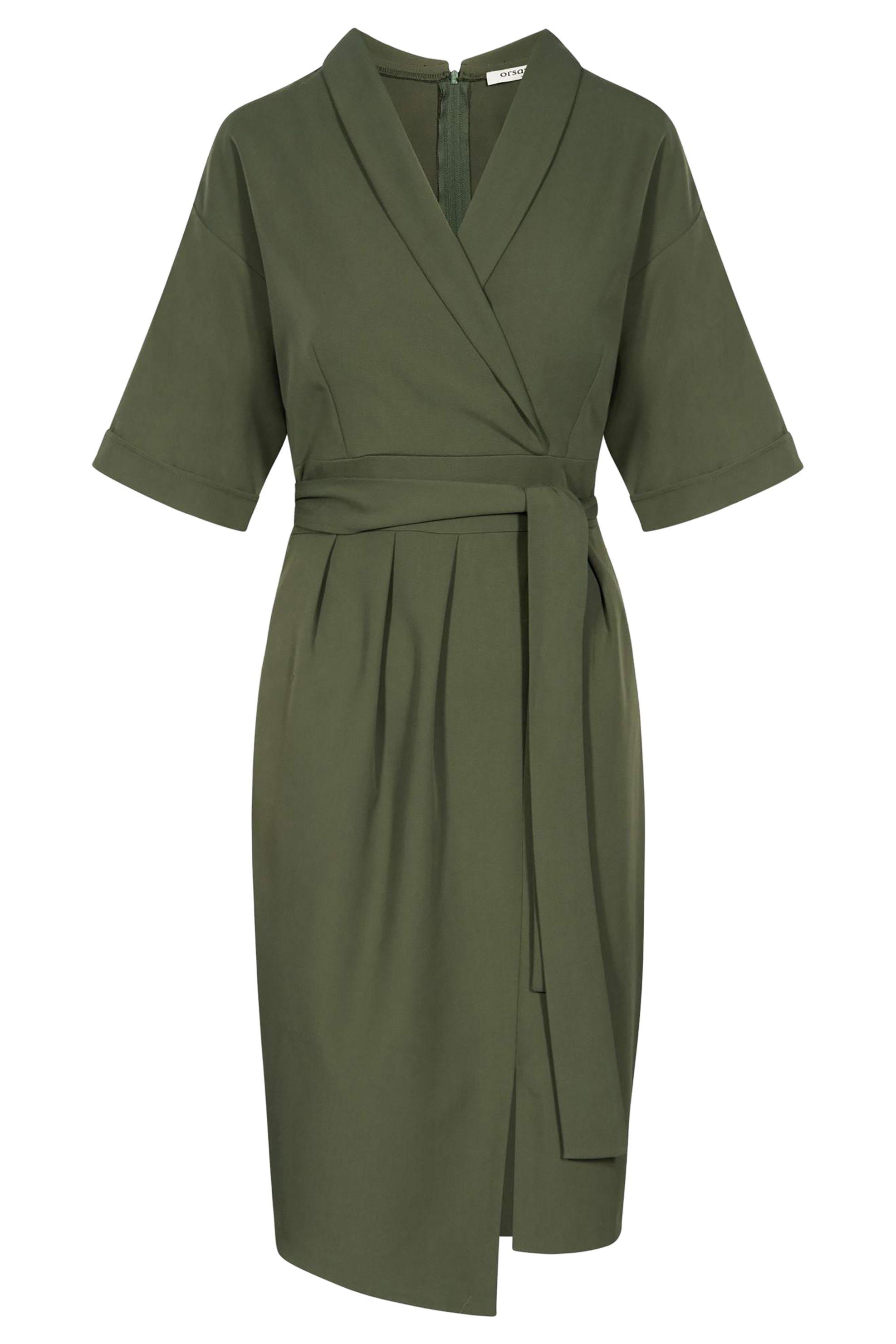 Orsay γυναικείο φόρεμα με wrap σχέδιο - 410161-880000 - Χακί γυναικα   ρουχα   φορέματα   midi φορέματα