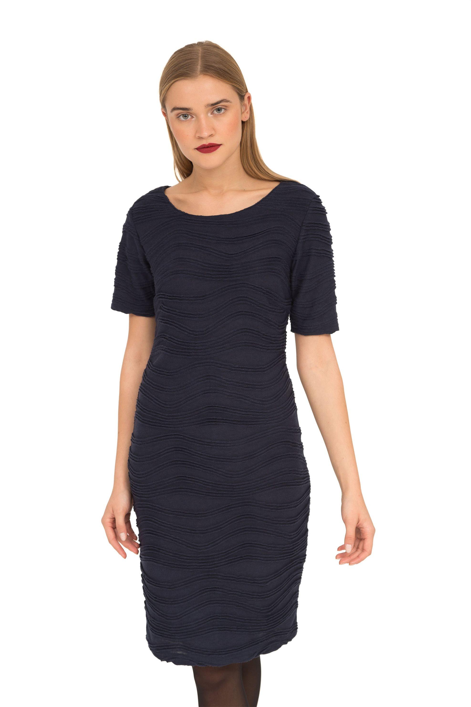 Fransa γυναικείο φόρεμα μονόχρωμο με κοντό μανίκι - 20604364 - Μπλε Σκούρο γυναικα   ρουχα   φορέματα   mini φορέματα