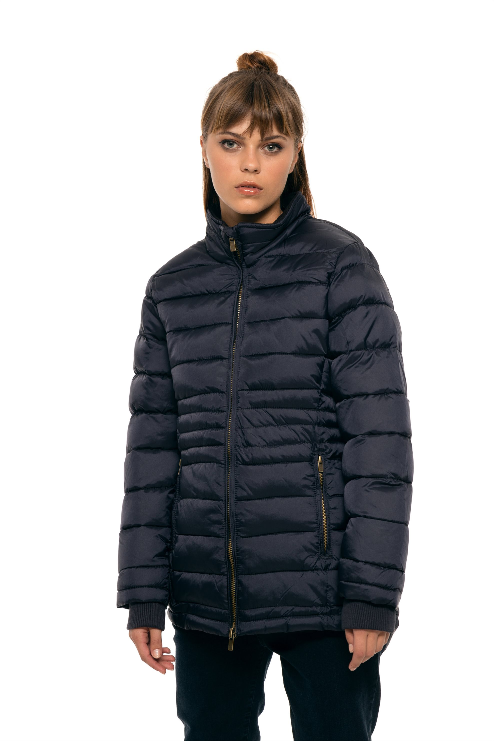 Notos Fransa γυναικείο καπιτονέ μπουφάν με ψηλό γιακά - 20604545 - Μπλε  Σκούρο 90c0513d00e