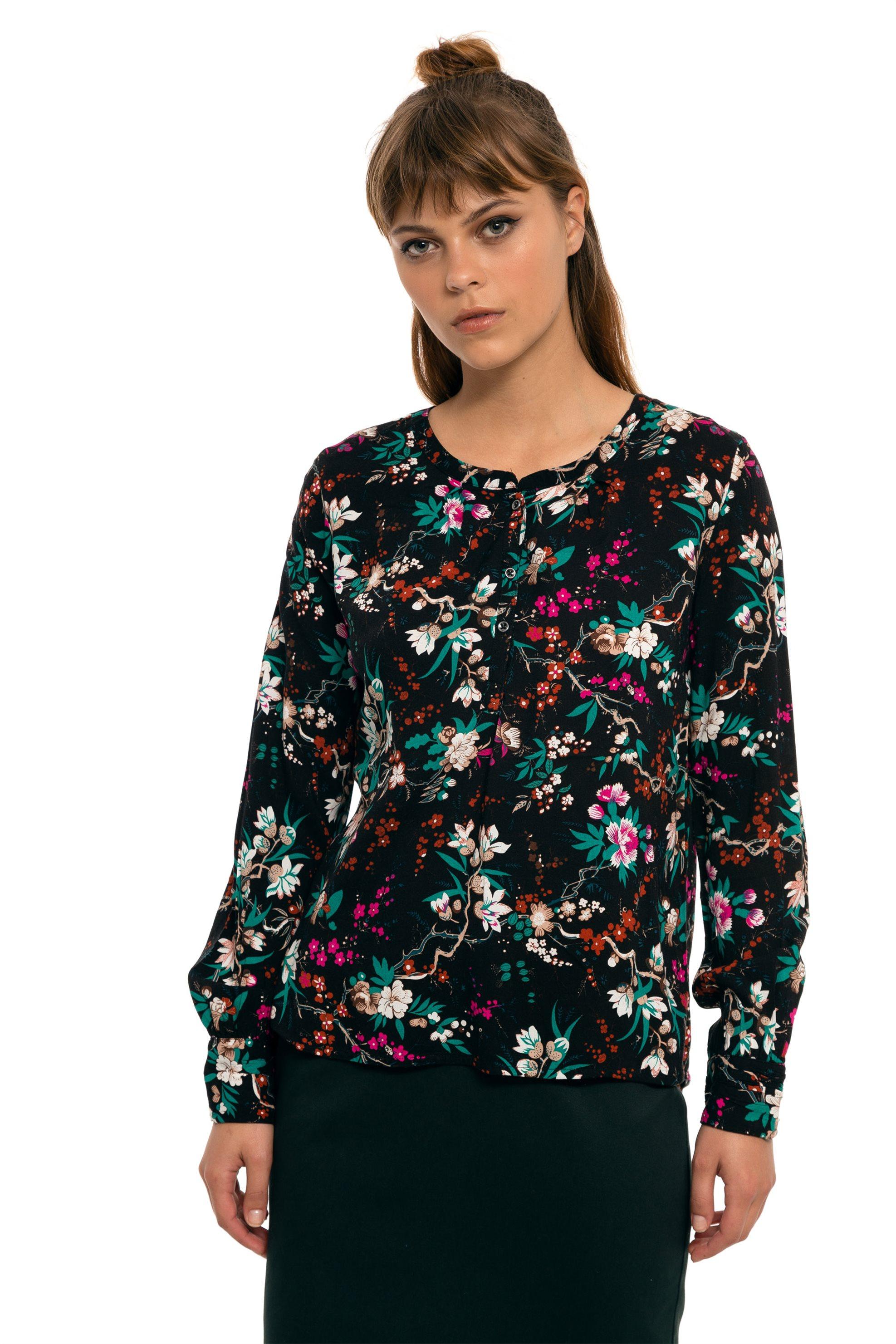 Fransa γυναικεία πουκαμίσα εμπριμέ - 20604603 - Μαύρο γυναικα   ρουχα   tops   πουκάμισα   μπλούζες   πουκαμίσες   καφτάνια   casual