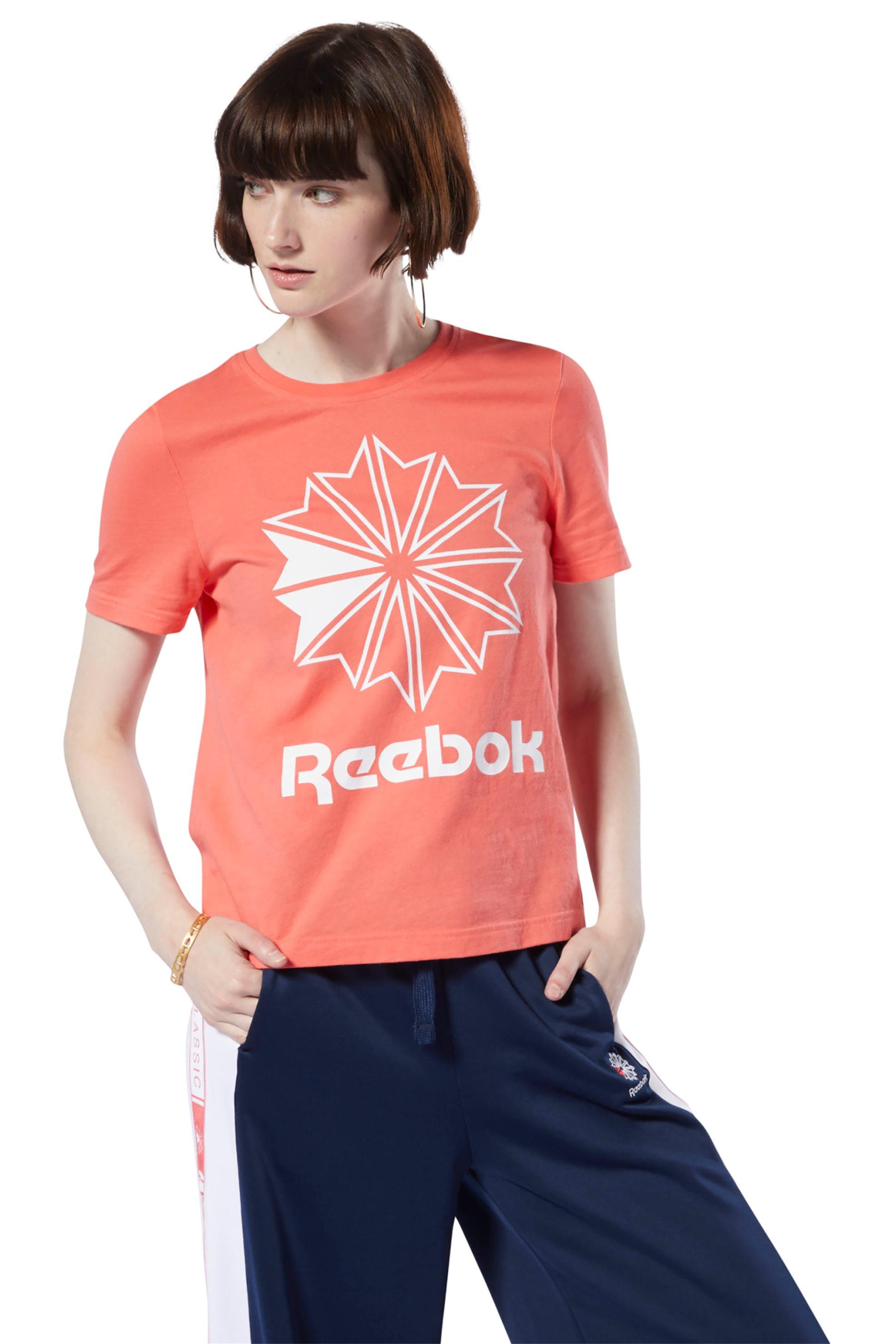 Reebok γυναικείο T-shirt με λογότυπο - DT7223 - Κοραλί γυναικα   αθλητικα   αθλητικά ρούχα   μπλούζες   t shirts