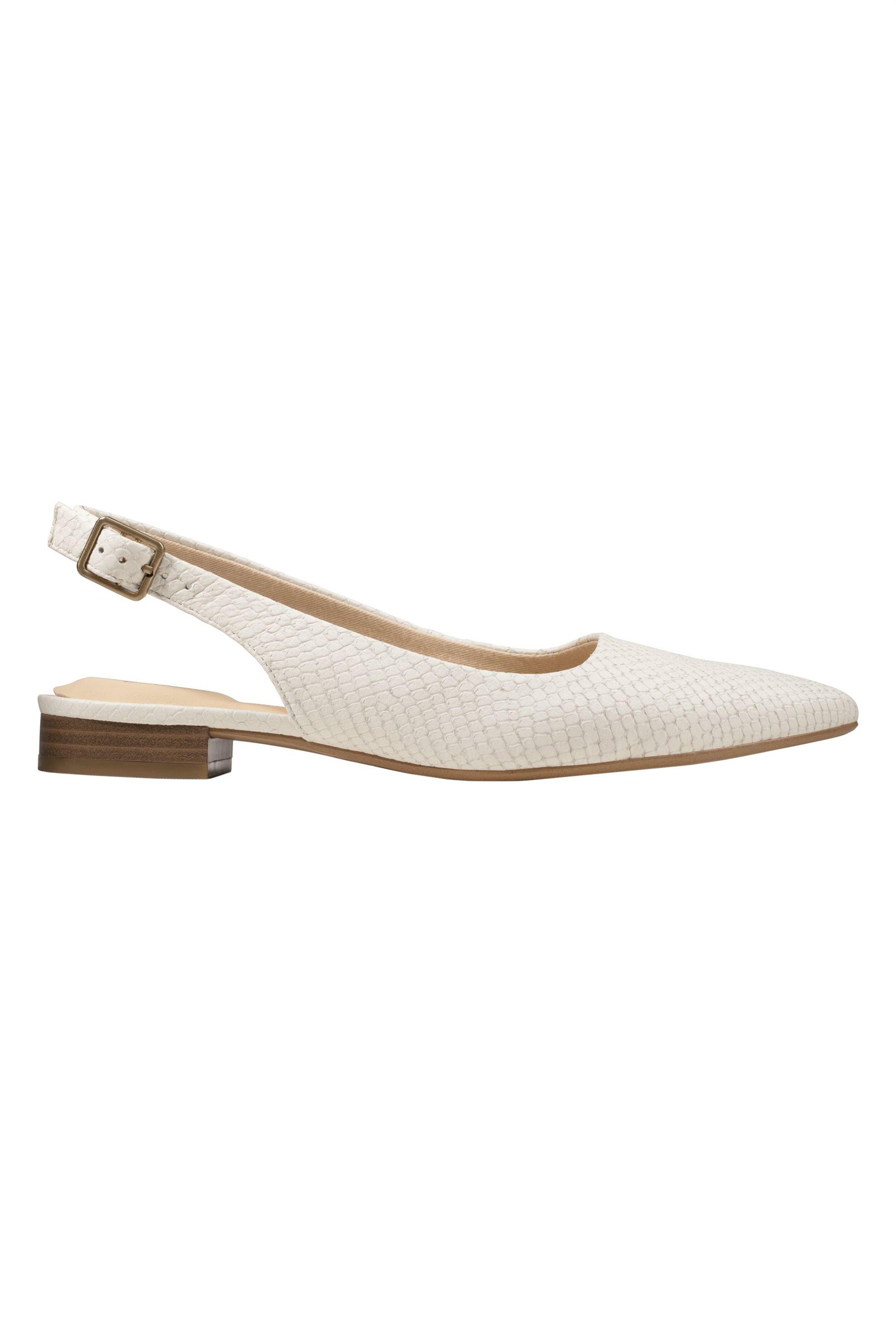 Clarks γυναικεία δερμάτινα παπούτσια slingback με snake print ''Laina 15 Sling'' - 26148861 - Λευκό