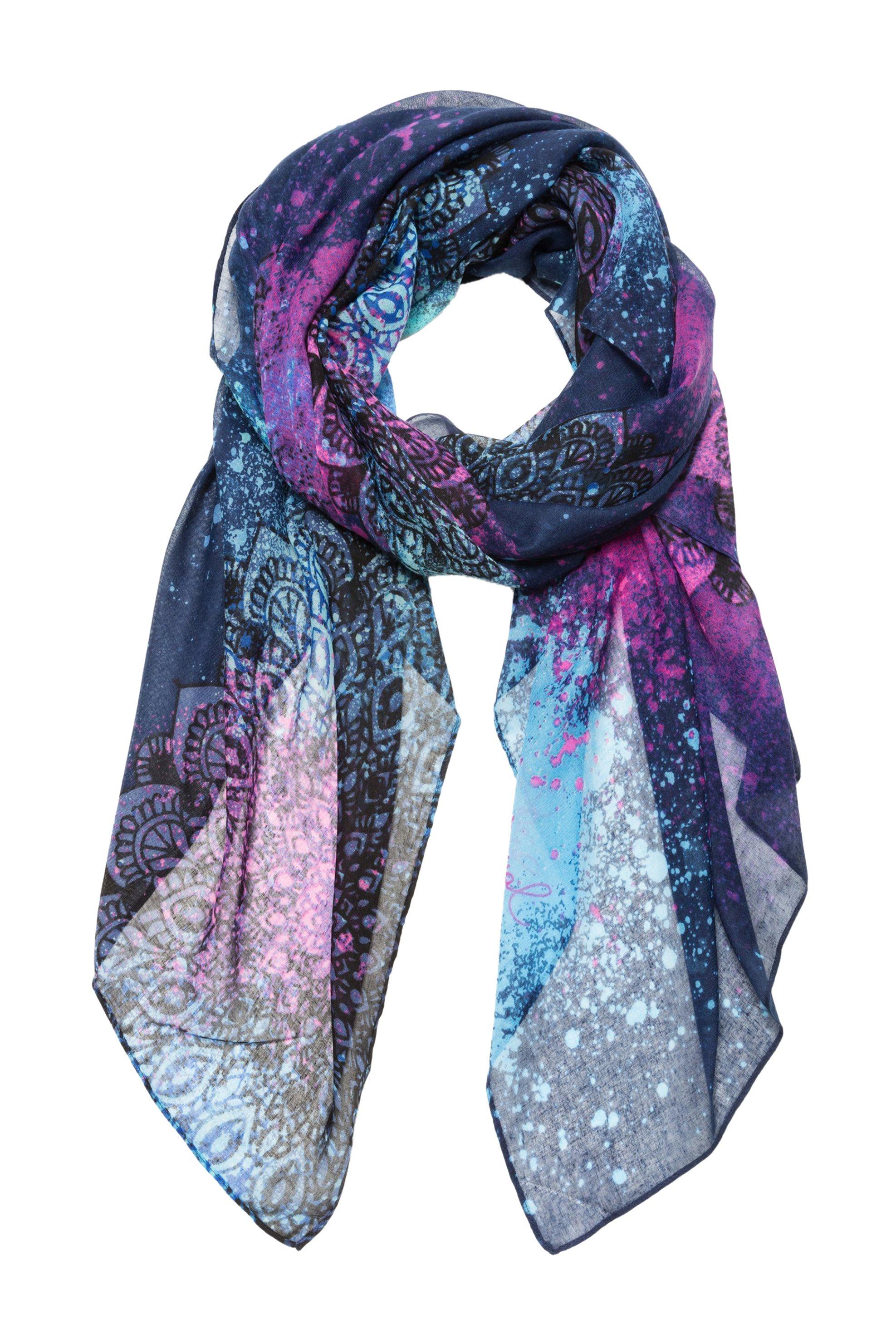 Desigual γυναικείο μαντήλι Spray Dots Rectangle - 18WAWW16 - Μπλε Σκούρο γυναικα   αξεσουαρ   κασκόλ   μαντήλια