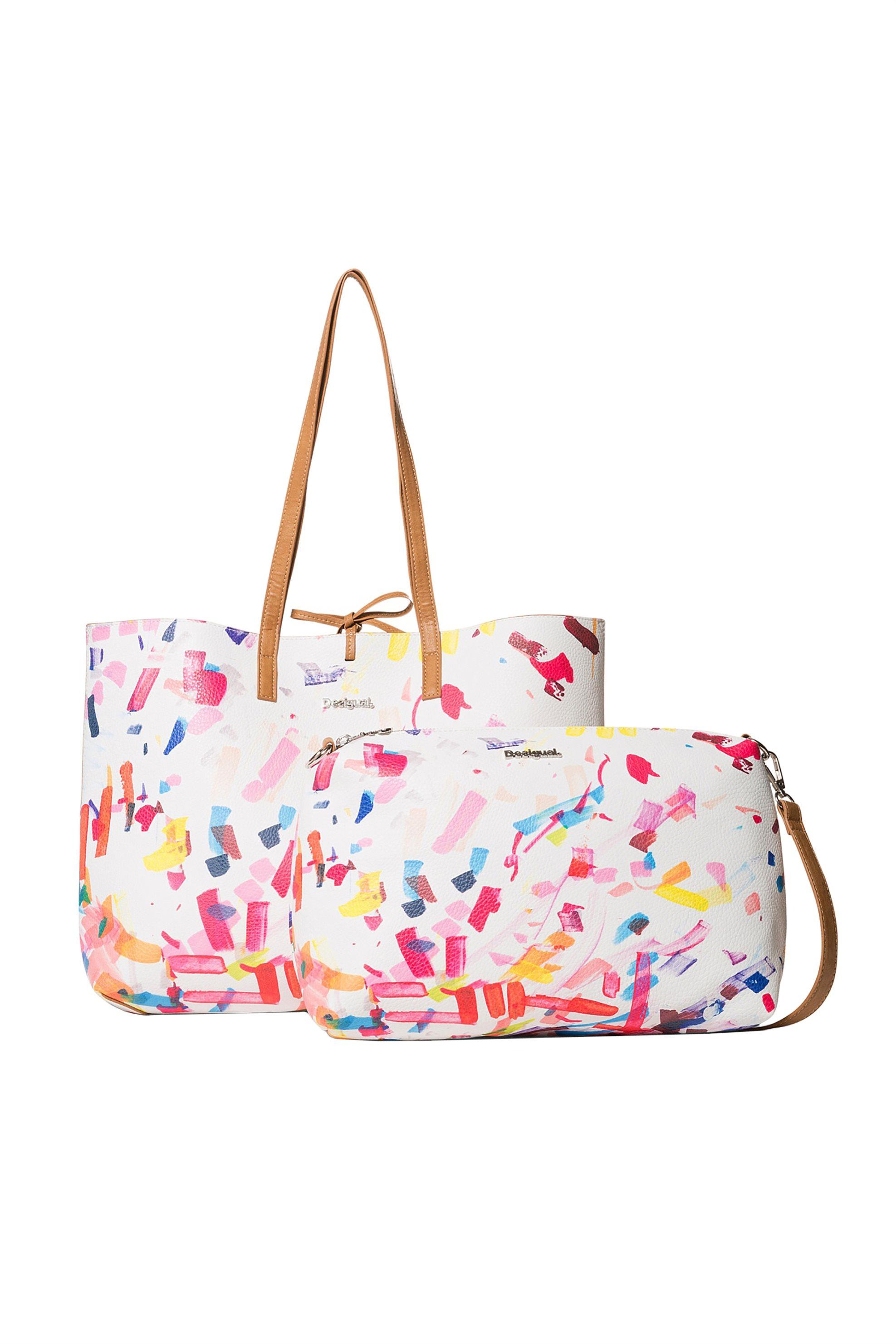 Desigual γυναικεία shopper τσάντα με αφαιρούμενο τσαντάκι - 19SAXP49 - Λευκό γυναικα   τσαντεσ   ώμου   shopper bags
