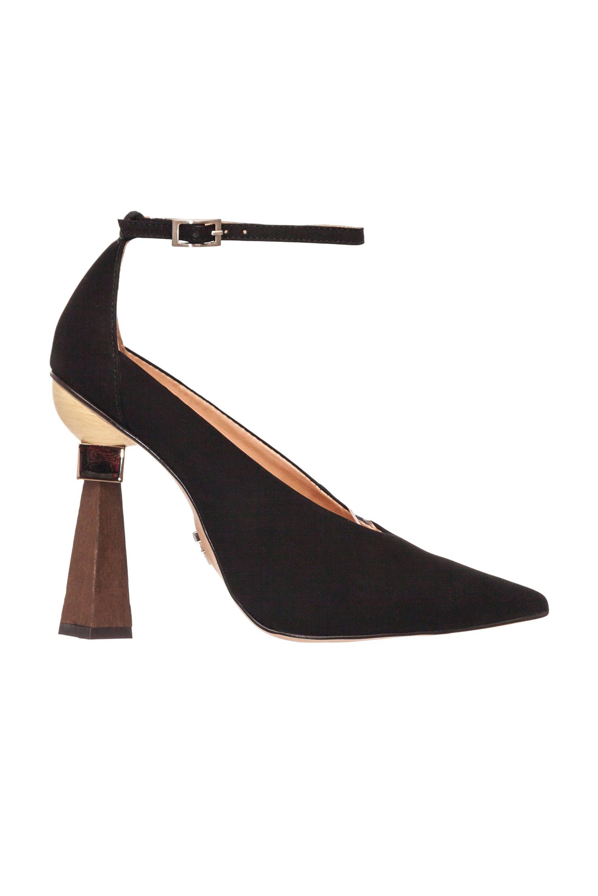 Carrano γυναικείες γόβες με ξύλινο τακούνι Nobuck – 154803 MMM1 – NOB – Μαύρο
