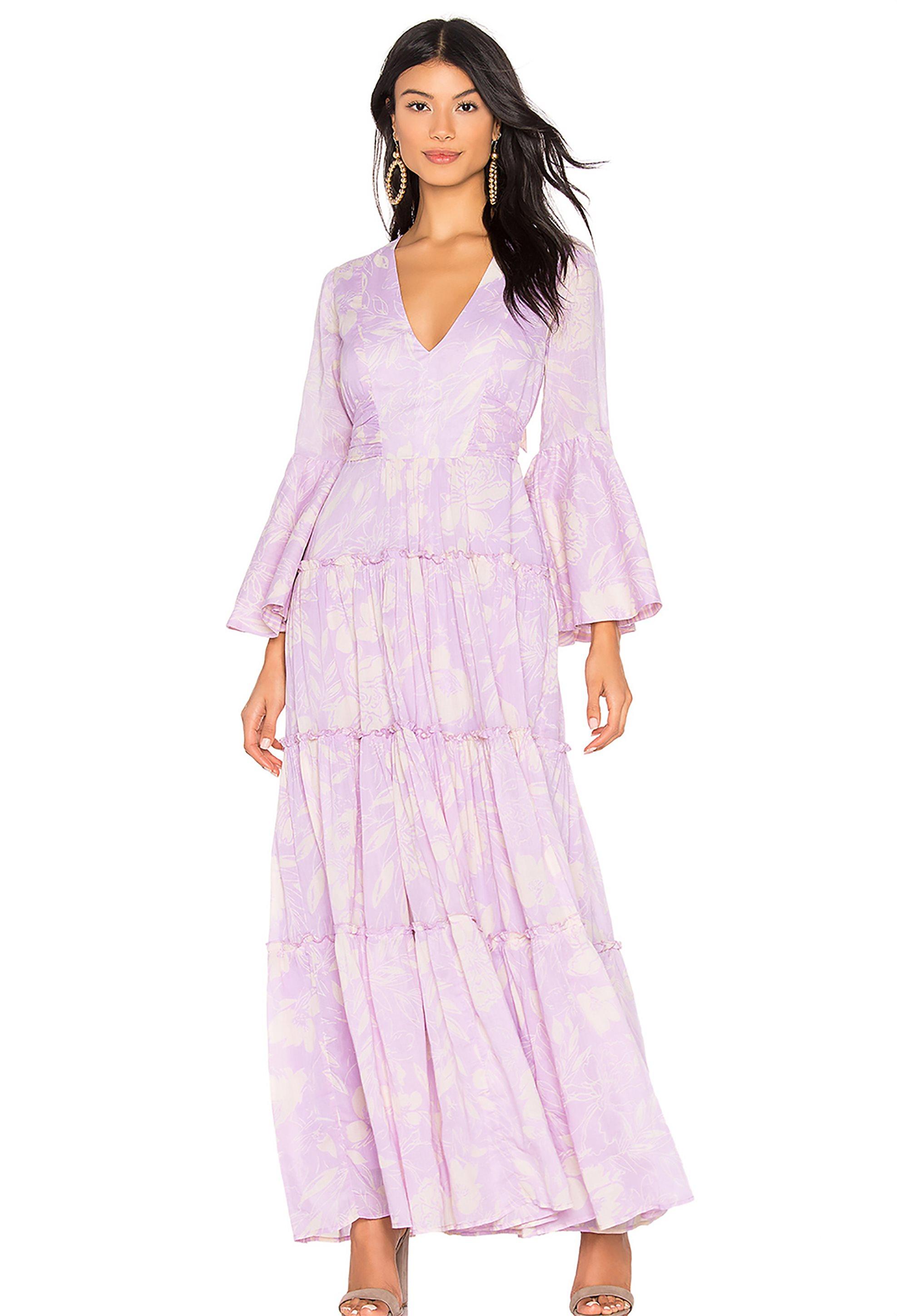 0c82d5762e3b Notos Free People γυναικείο φόρεμα εμπριμέ Carmen Tie Back - OB902398 - Λιλά