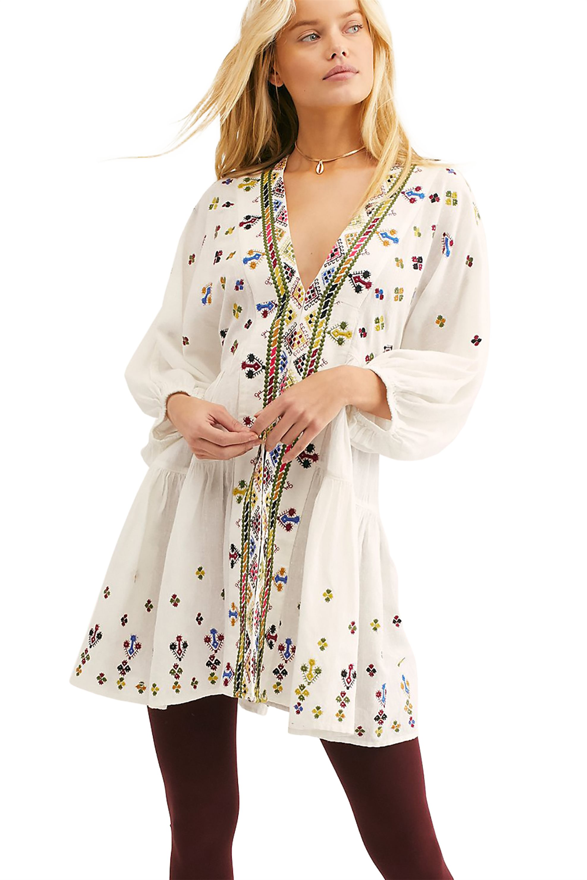 db6e96b4f3c3 Free People γυναικείο φόρεμα τουνίκ Light It Up Embroidered - OB915883 -  Λευκό