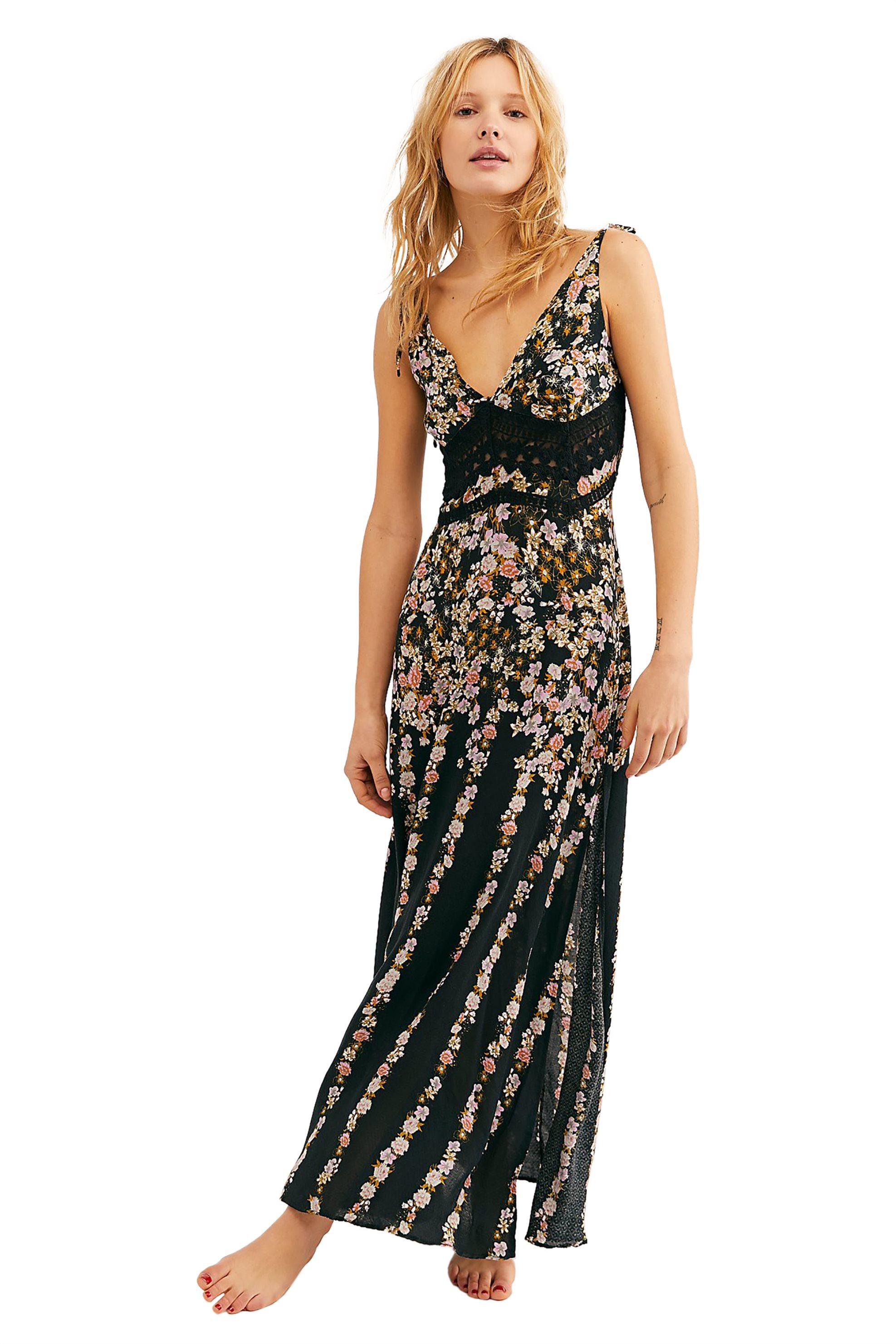 Free People γυναικείο φόρεμα εμπριμέ Claire Printed Maxi Slip - OB922530 - Μαύρο γυναικα   ρουχα   φορέματα   maxi φορέματα