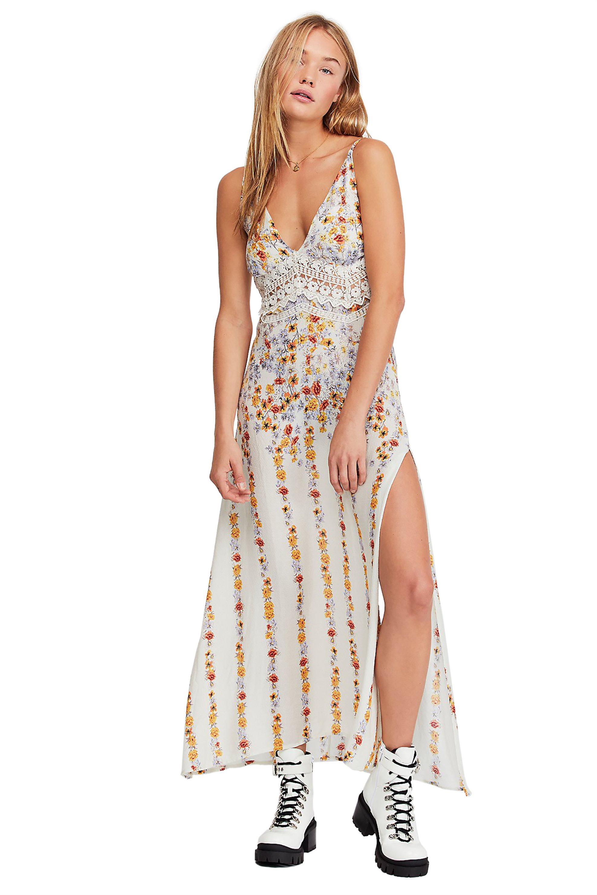 Free People γυναικείο φόρεμα εμπριμέ Claire Printed Maxi Slip - OB922530 - Λευκό γυναικα   ρουχα   φορέματα   maxi φορέματα