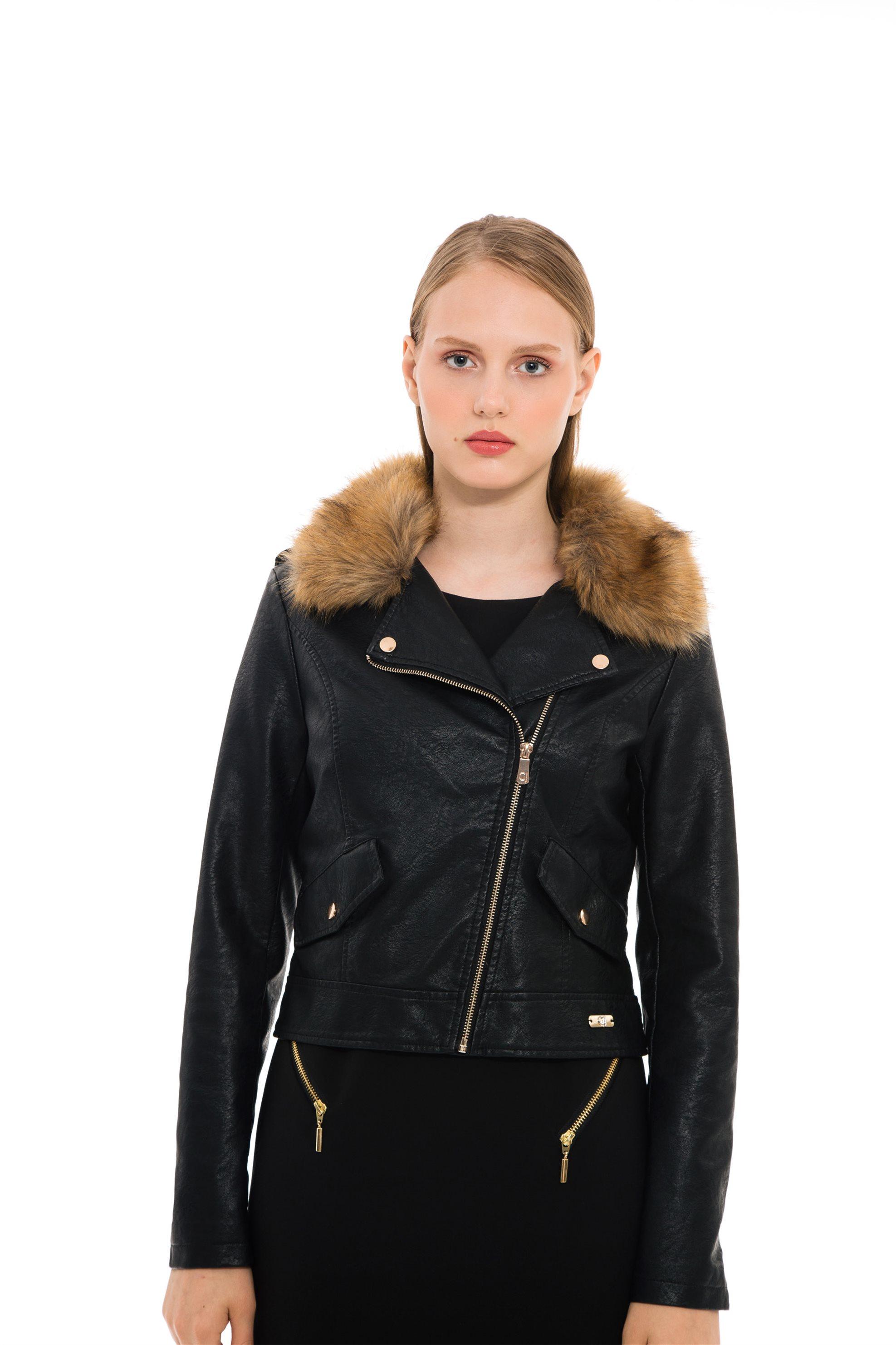 Gaudi γυναικείο faux δερμάτινο μπουφάν με γούνα στον γιακά - 821BD38005 -  Μαύρο 10bf3234fd4