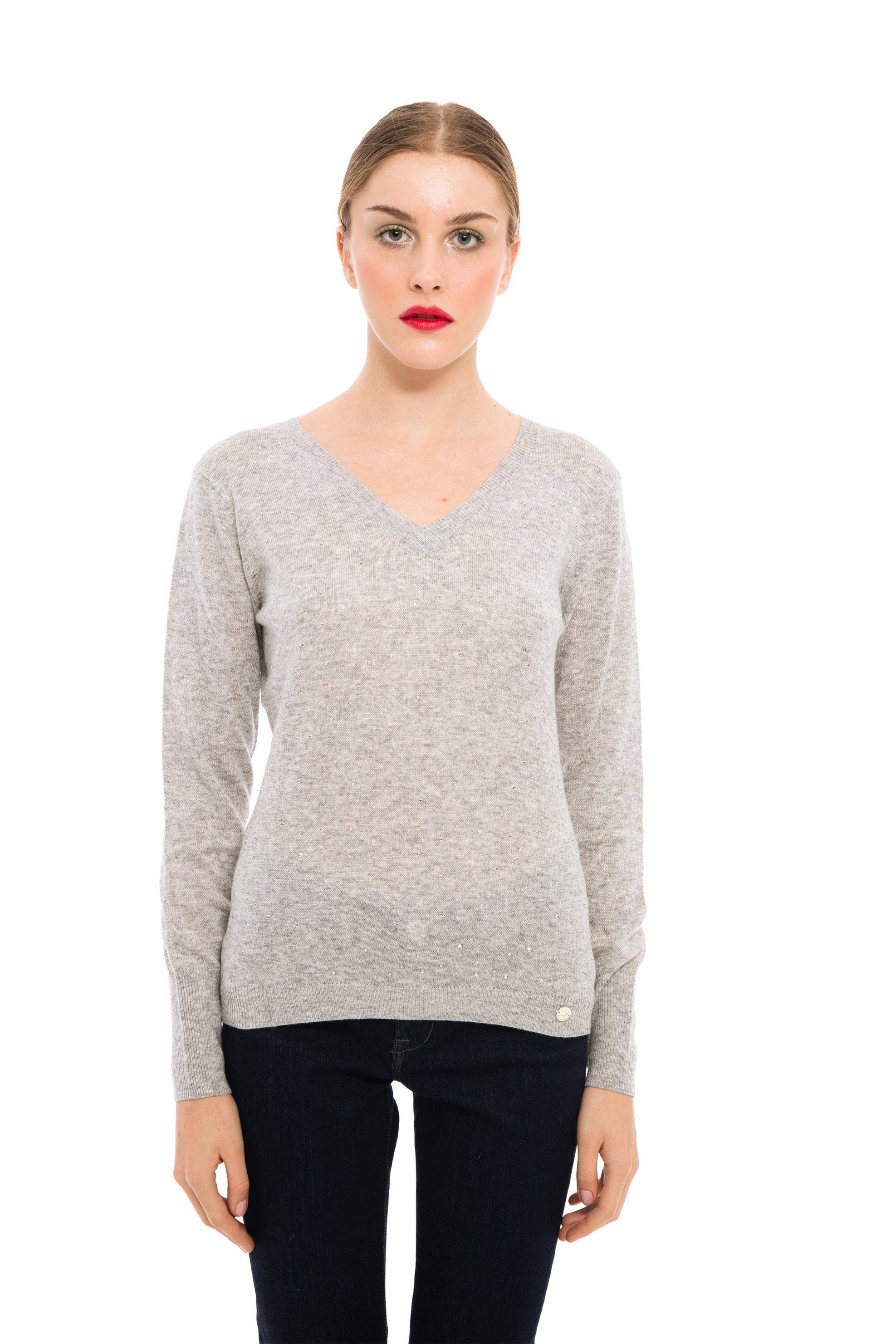 2d4bf11048aa Gaudi γυναικεία μπλούζα πλεκτή με τρούκς και V λαιμόκοψη - 821BD53043 - Γκρι