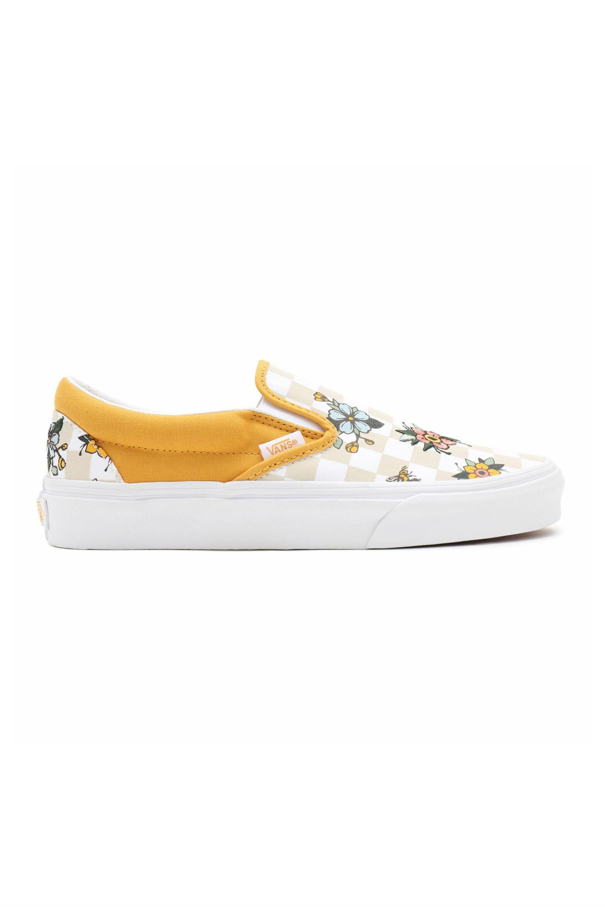 "Vans unisex υφασμάτινα παπούτσια με checkerboard print ""Garden Check Classic Slip-On"" – VN0A33TB9HP1 – Κίτρινο"