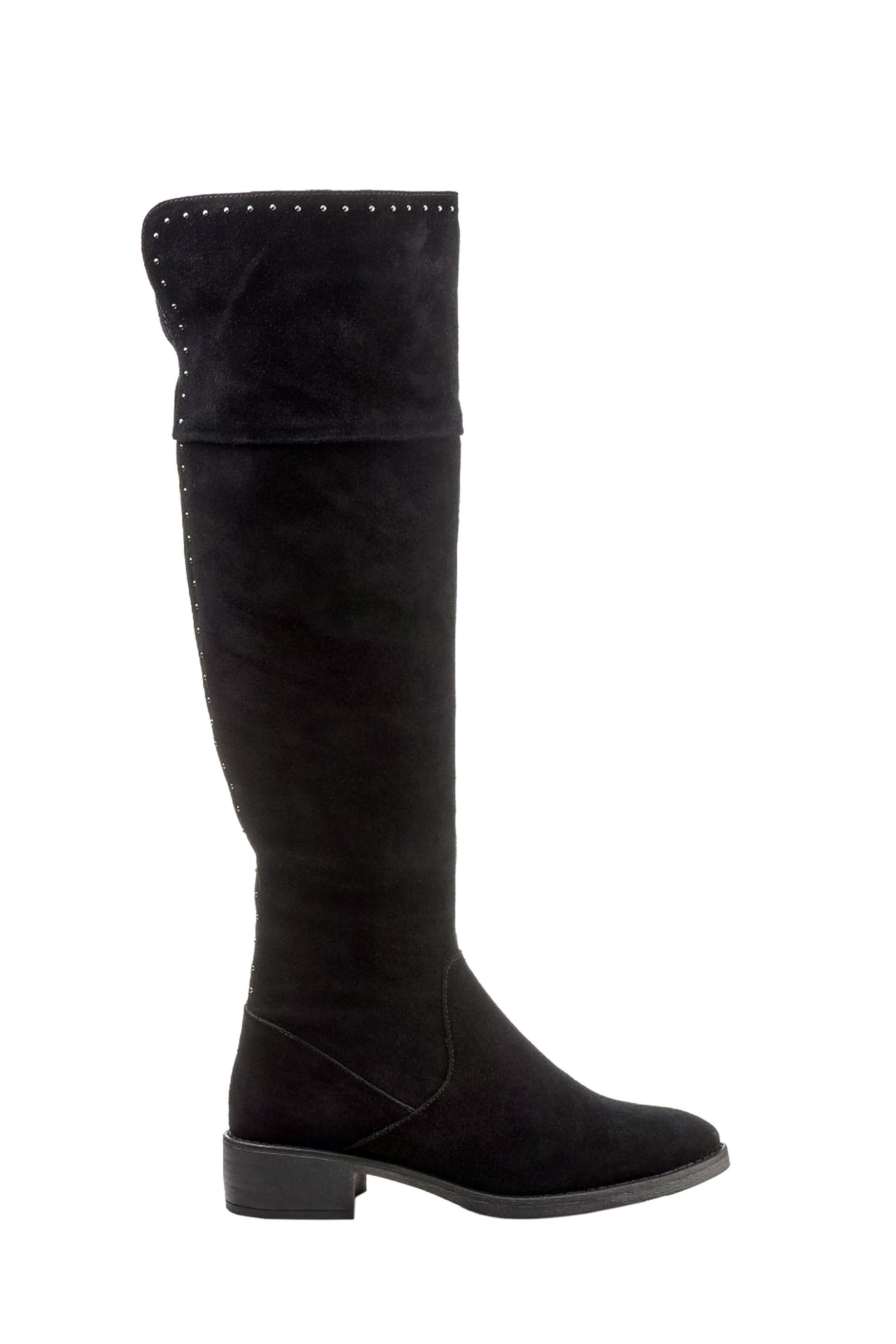 ΝΑΚ γυναικείες μπότες suede με μεταλλικές λεπτομέρειες - 218969-66392 - Μαύρο γυναικα   παπουτσια   μπότες   ως το γόνατο