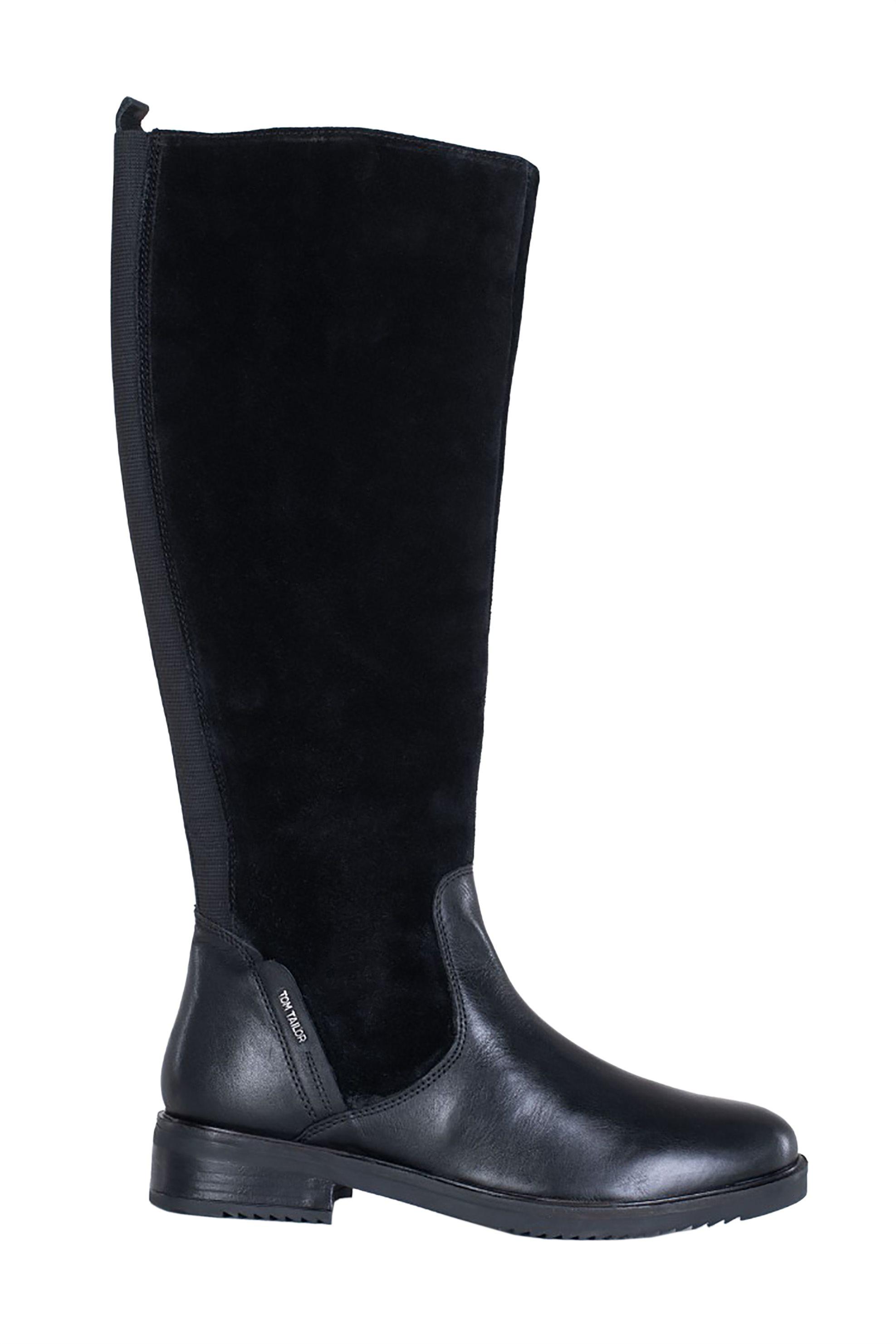 Tom Tailor γυναικείες δερμάτινες ψηλές suede μπότες – 7999103 – Μαύρο