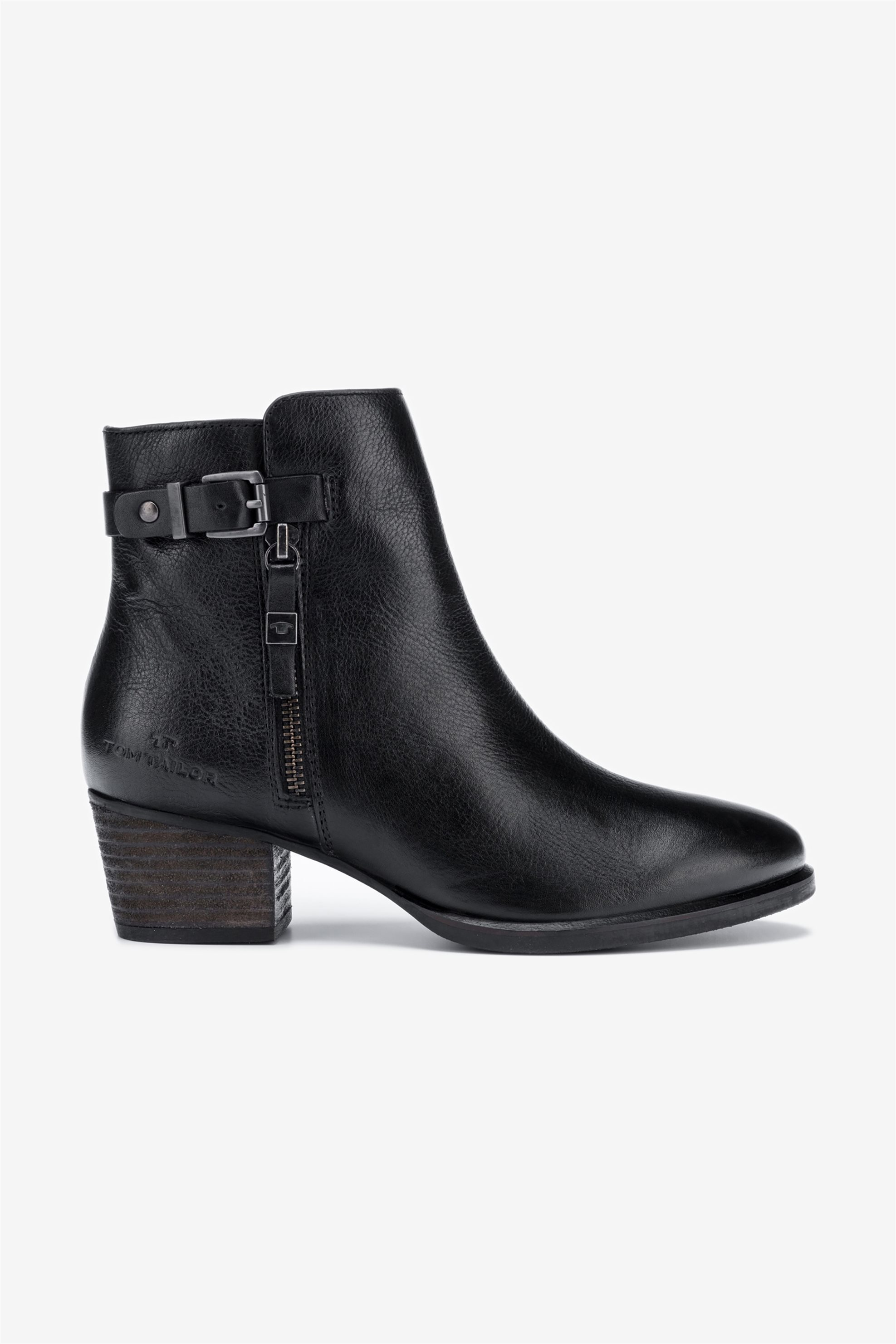 Tom Tailor γυναικεία δερμάτινα μποτάκια με τακούνι – 7999402 – Μαύρο