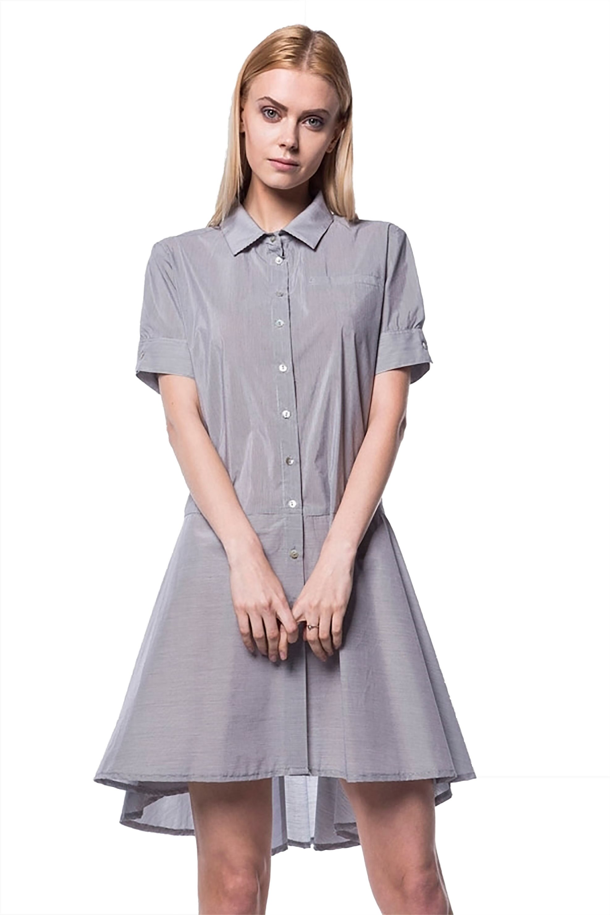 49489e4102bf Γυναικεία   Ρούχα   Φορέματα   Καθημερινά   Γυναικείο φόρεμα με γιακά και  πατιλέτα Helmi - 41-05-066 - Γκρι - GoldenShopping.gr