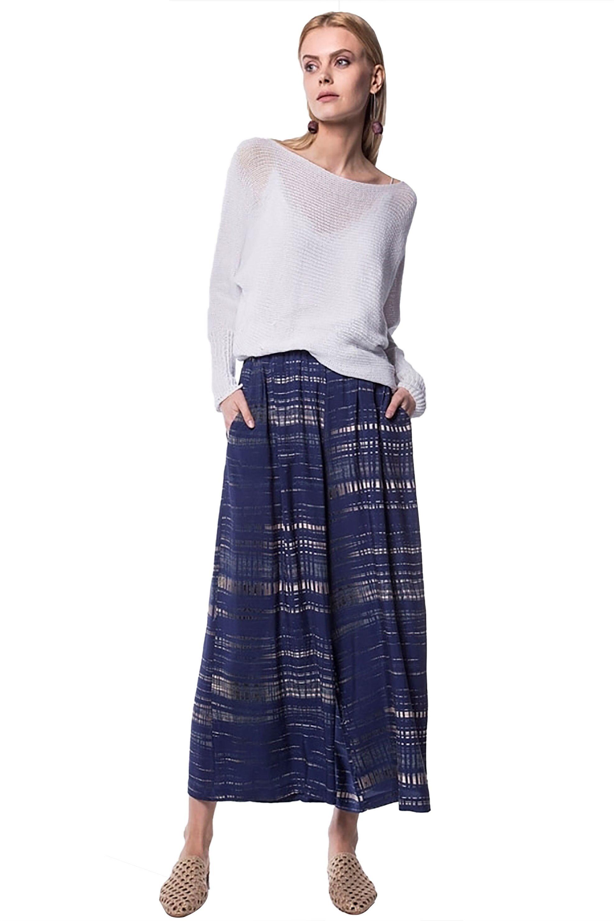 Γυναικεία παντελόνα ψηλόμεση με λάστιχο στη μέση Helmi - 41-04-078 - Μπλε γυναικα   ρουχα   παντελόνια   παντελόνες
