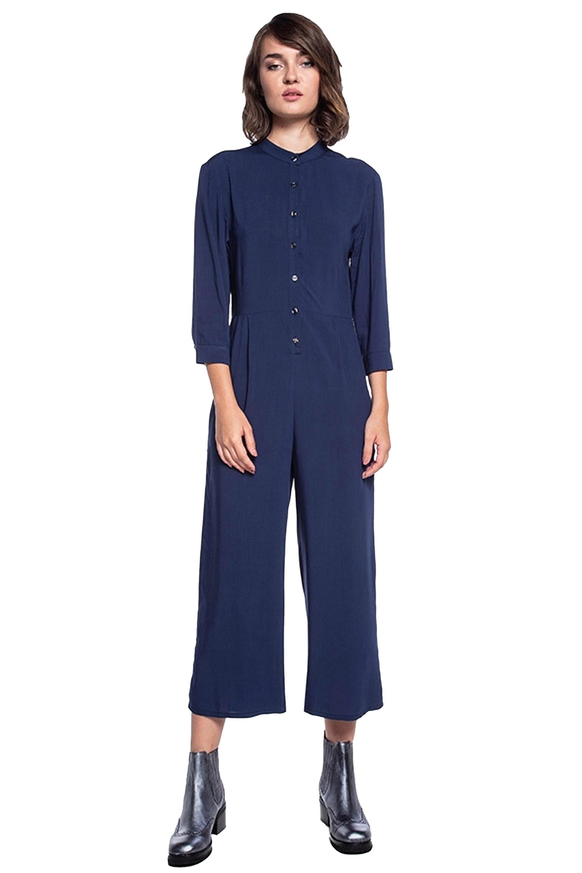Helmi γυναικεία ολόσωμη φόρμα μονόχρωμη cropped - 42-25-006 - Μπλε γυναικα   ρουχα   ολόσωμες φόρμες   σαλοπέτες