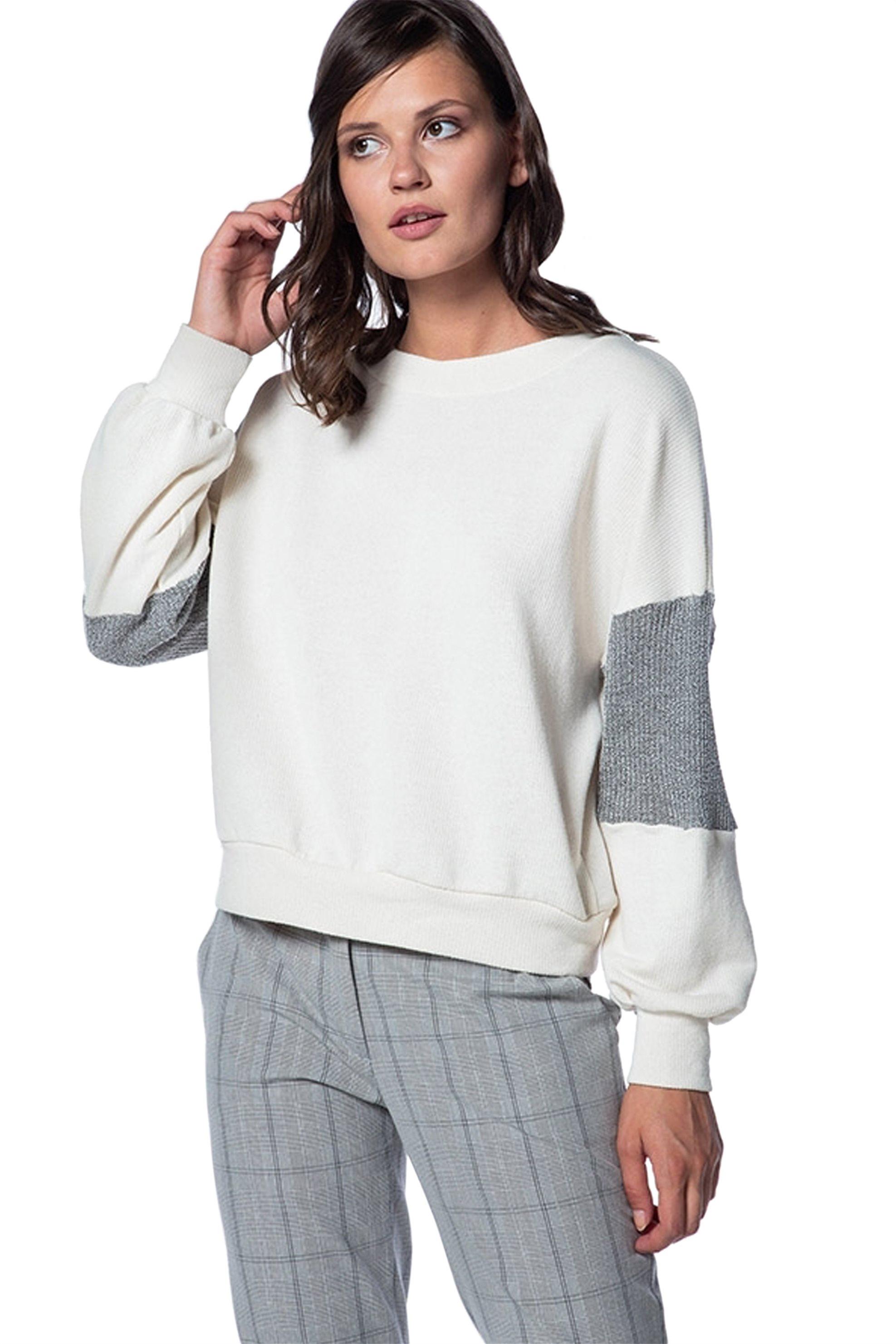Helmi γυναικεία μπλούζα φούτερ με φαρδύ μανίκι - 42-03-041 - Κρέμ γυναικα   ρουχα   tops   φούτερ μπλούζες   ζακέτες   μπλούζες   casual