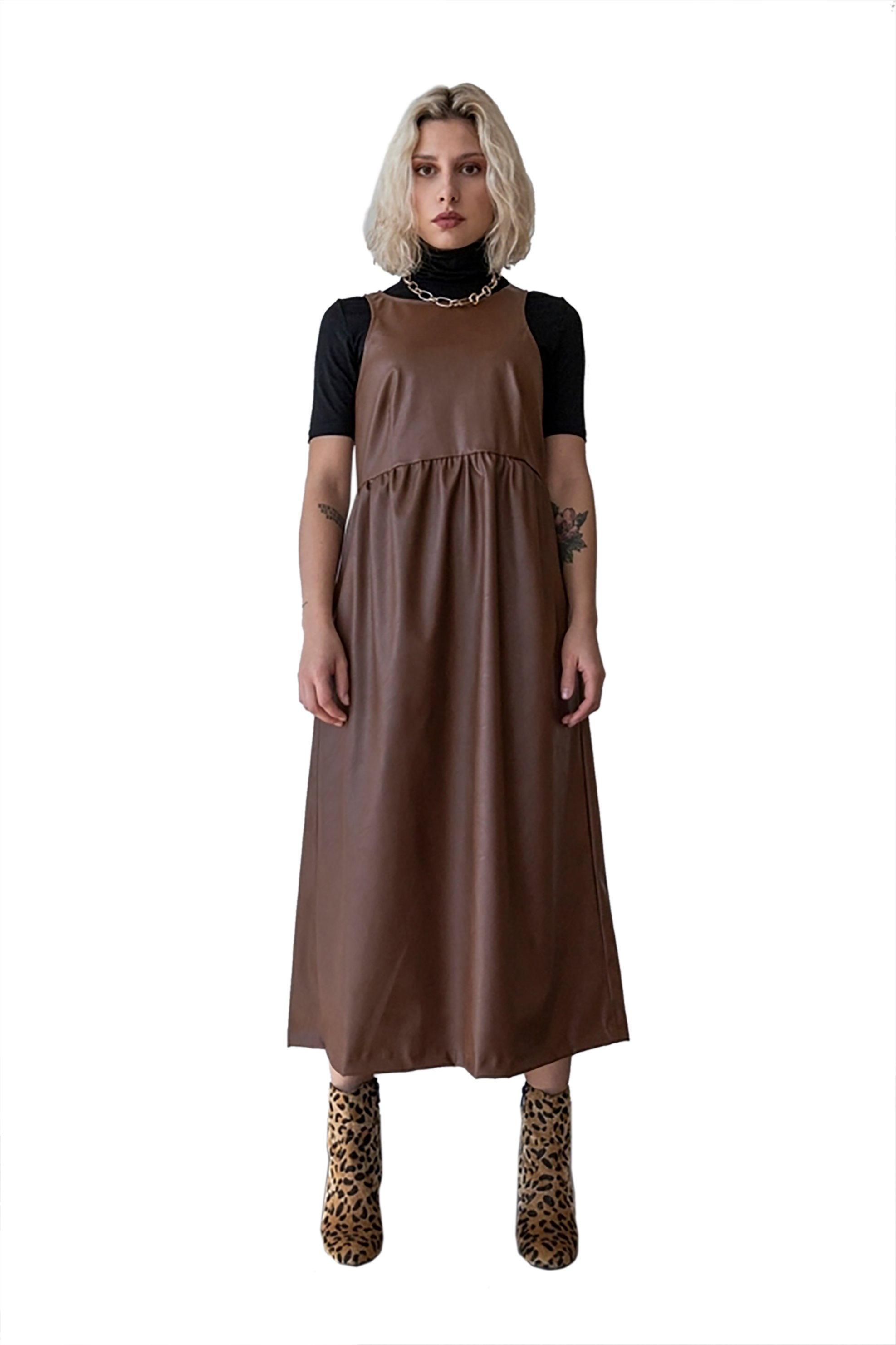 Helmi γυναικείο midi φόρεμα αμάνικο faux leather - 46-05-023 - Ταμπά