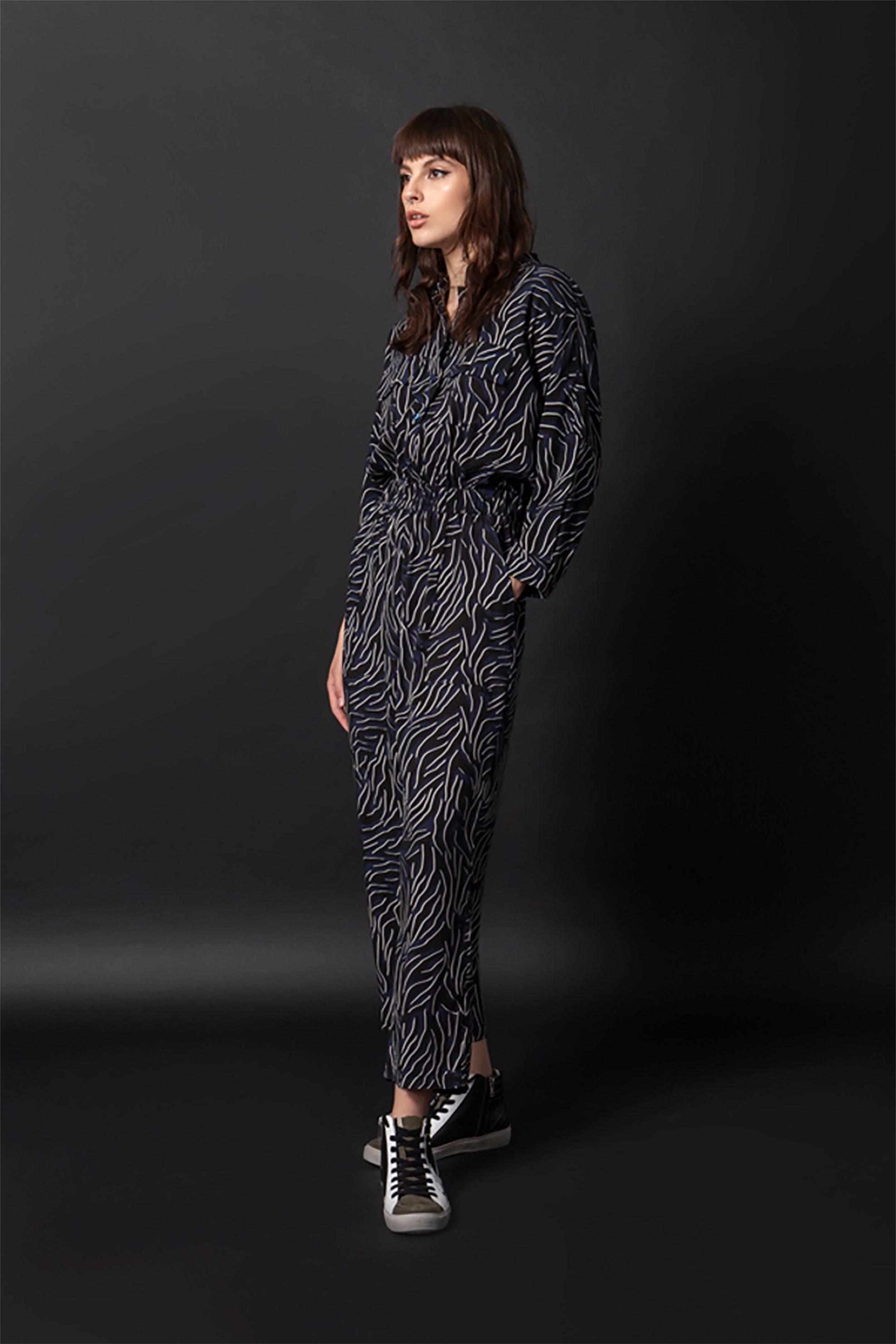 Helmi γυναικεία ολόσωμη φόρμα με μάο γιακά και all-over print - 48-25-004 - Μπλε Σκούρο
