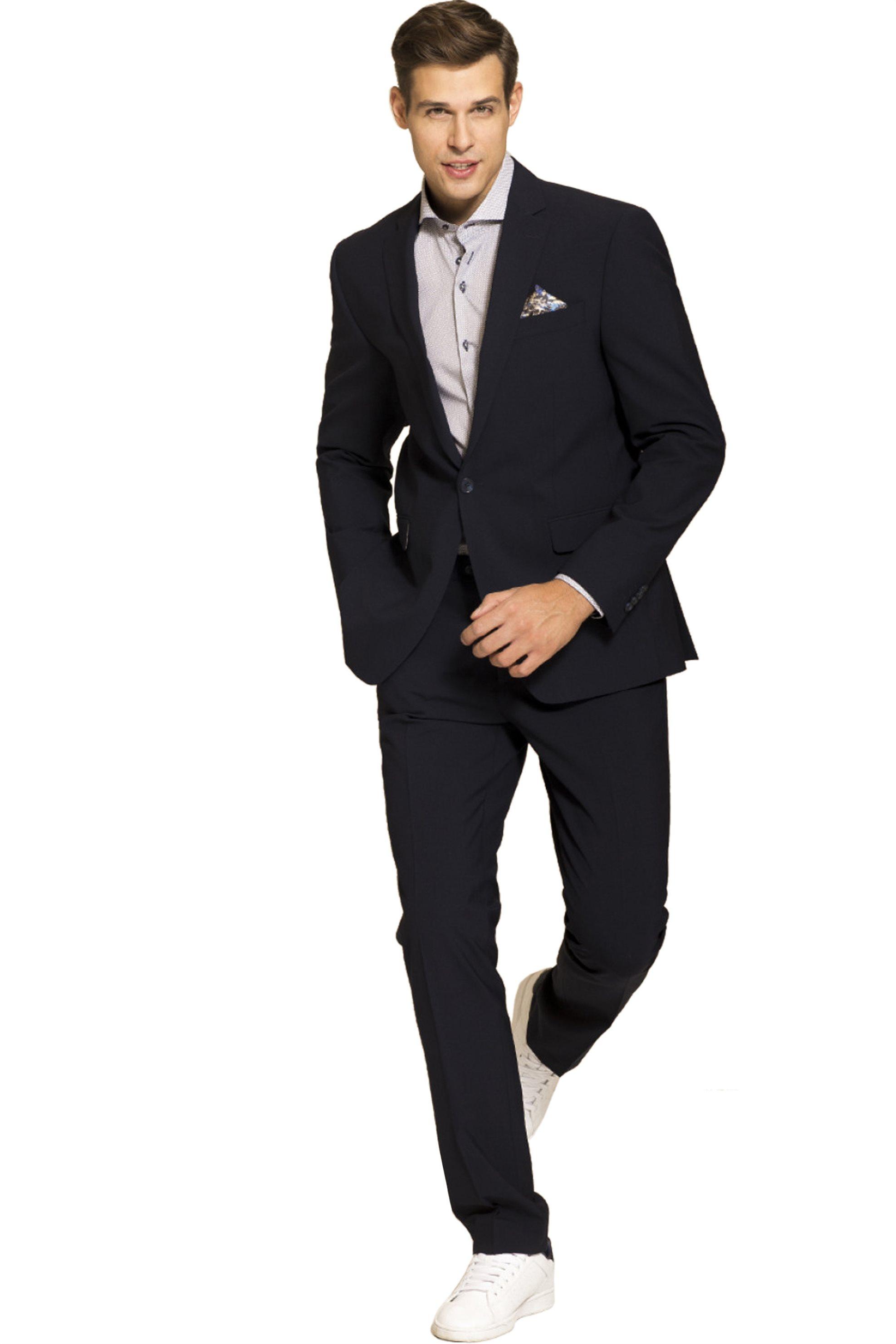 e8ff88a334f Mauro Boano κοστούμι slim fit με ένα κουμπί - 1012829810189 - Μπλε Σκούρο