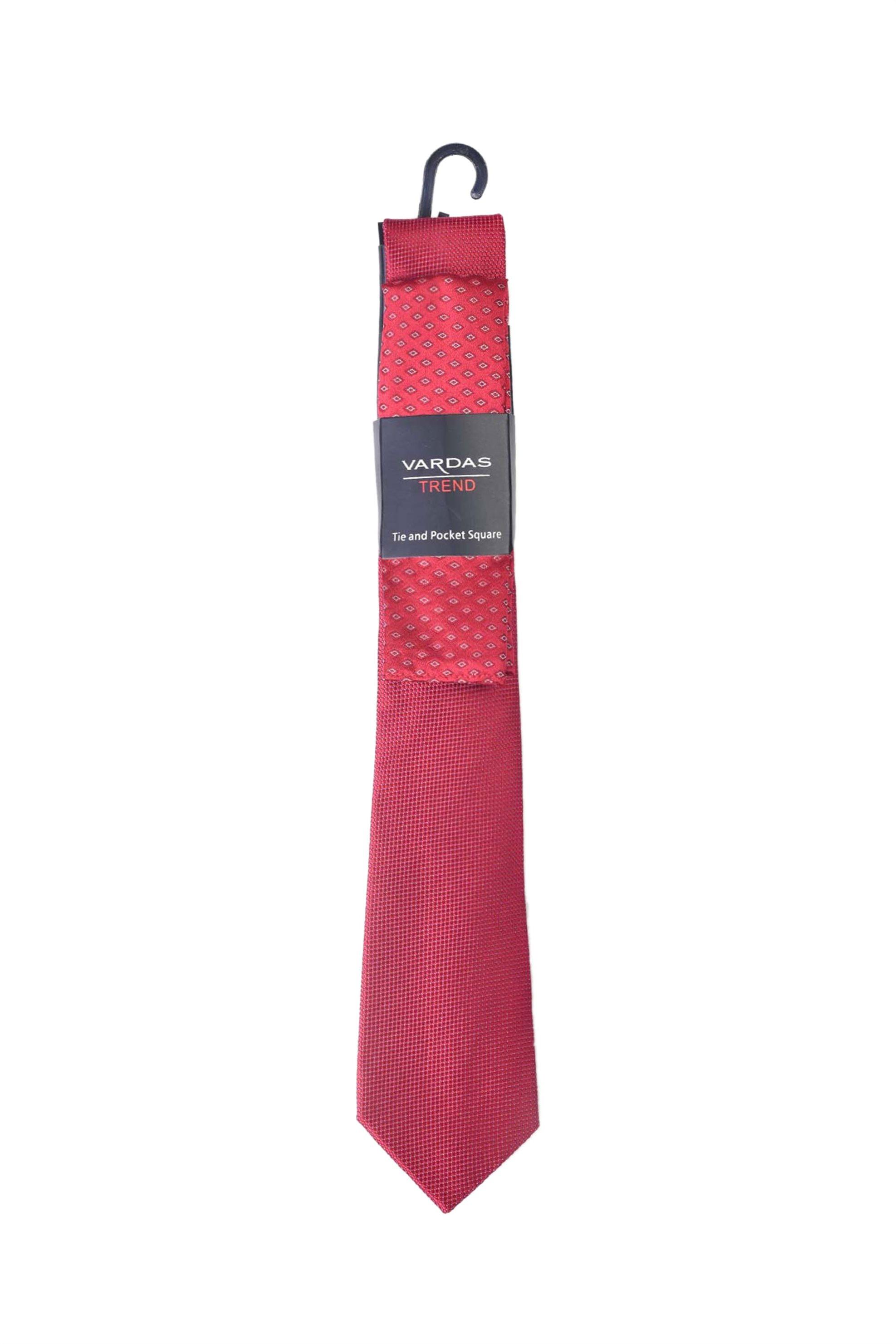 Vardas ανδρικό μεταξωτό σετ γραβάτα και μαντηλάκι - 2062000364301 - Κόκκινο
