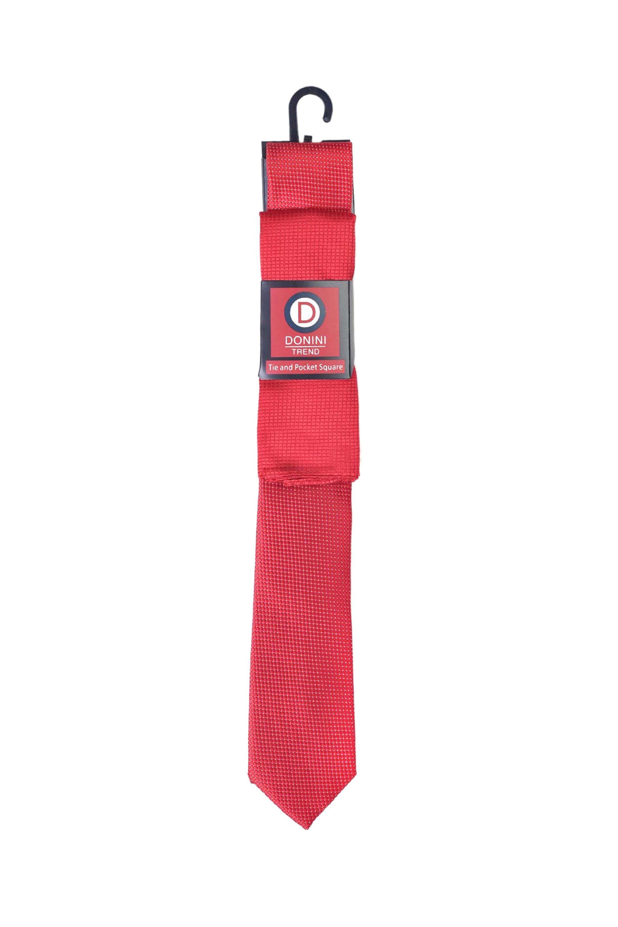 Vardas ανδρικό σετ γραβάτα και μαντηλάκι - 2062000404301 - Κόκκινο