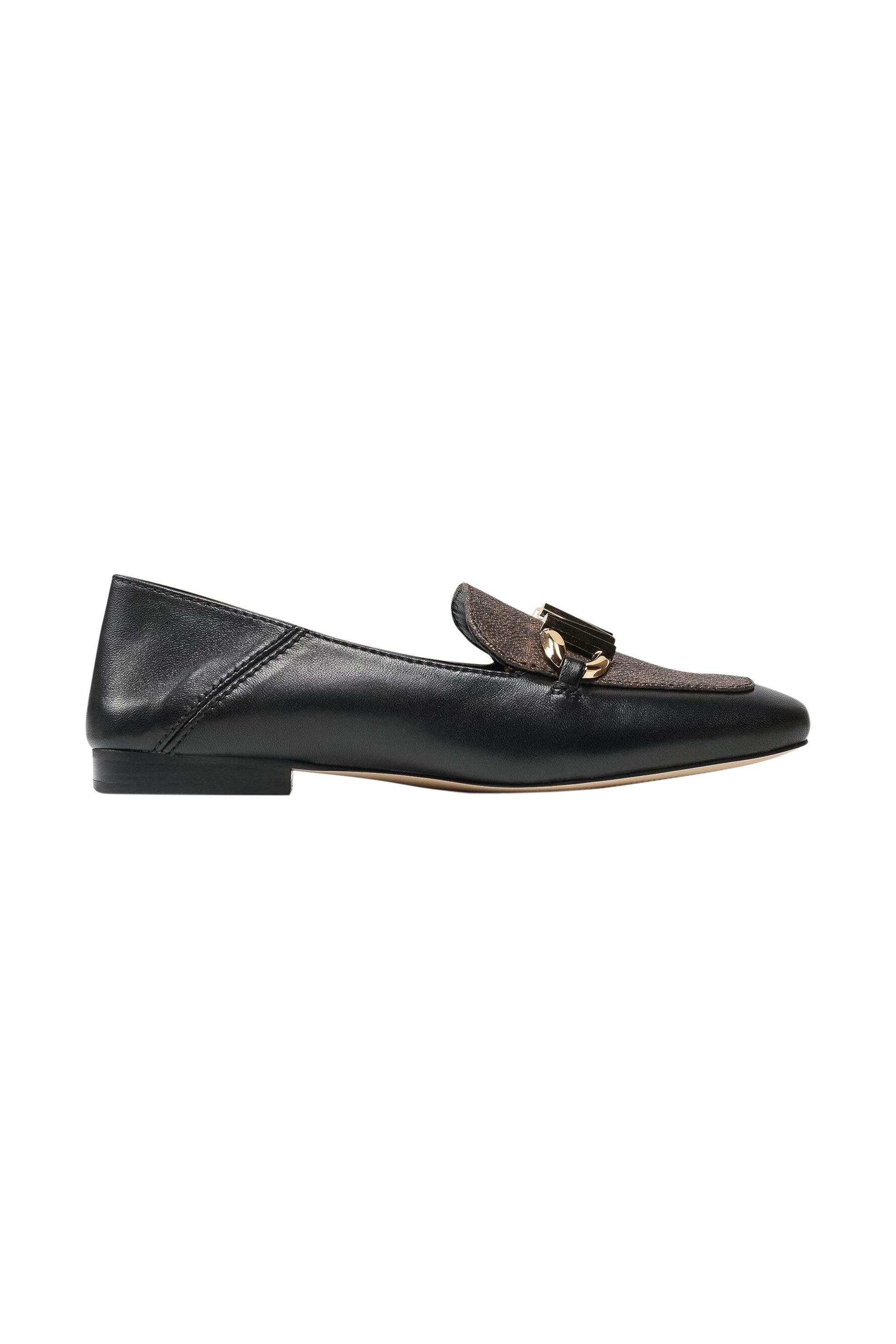 """Michael Kors γυναικεία δερμάτινα loafers με μεταλλικό λογότυπο """"Izzy"""" – 40T1IZFP1L – Μαυρο"""