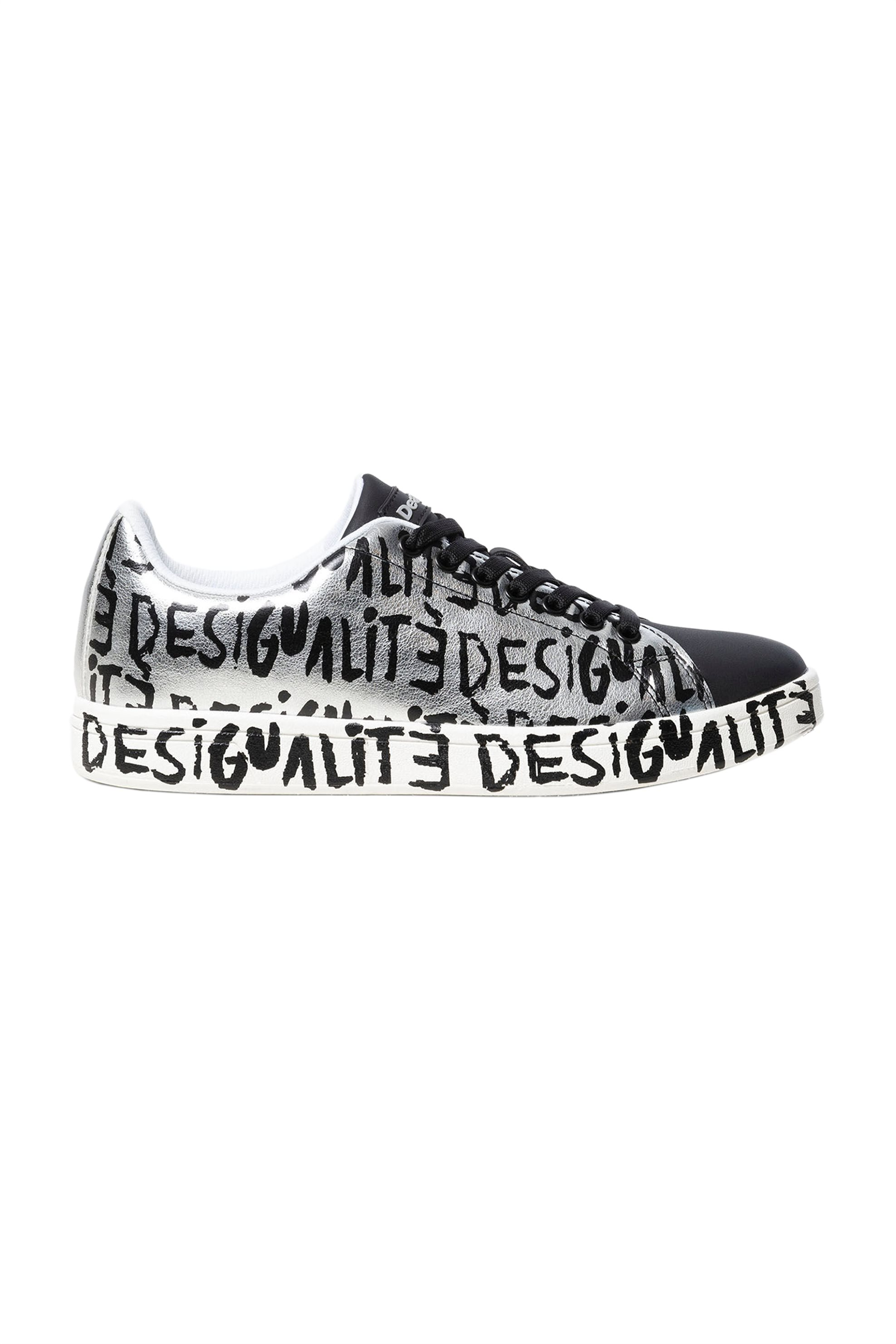 "Desigual γυναικεία sneakers μεταλλιζέ με letter print ""Cosmic Desigualite"" - 19WSKP02 - Ασημί"