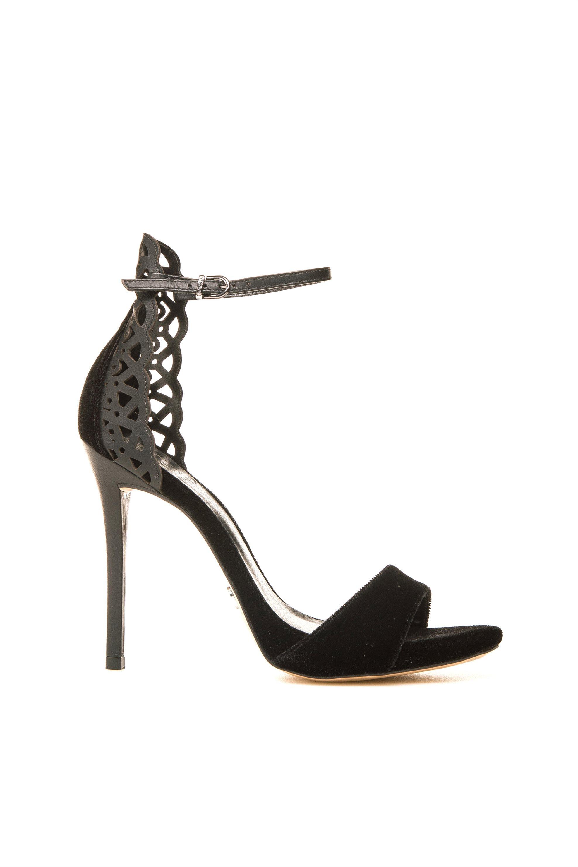 WERNER γυναικεία πέδιλα ψηλότακουνα βελούδο - 119658-VELVET - Μαύρο γυναικα   παπουτσια   πέδιλα   σανδάλια