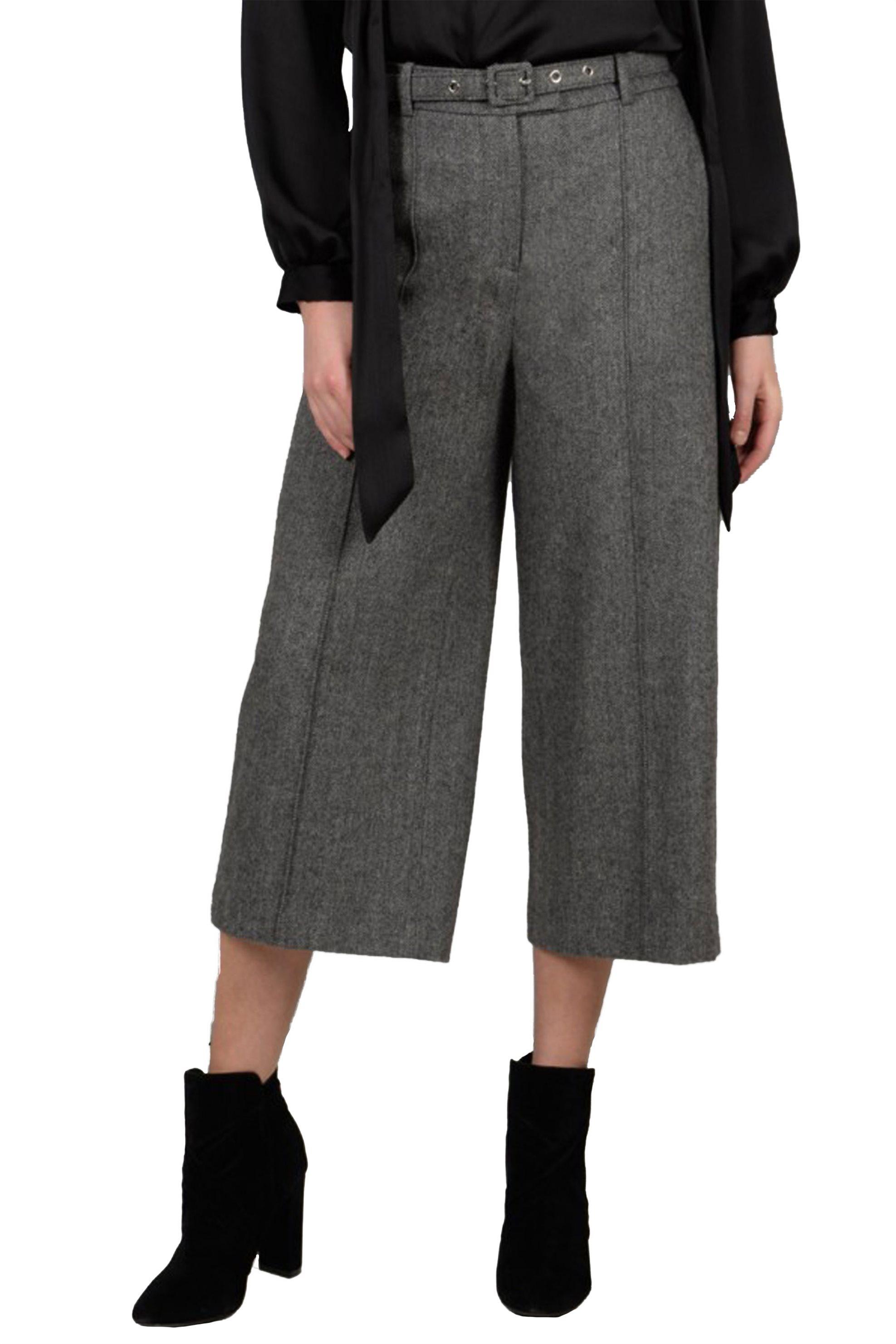 Notos Molly Bracken γυναικείο παντελόνι capri σε φαρδιά γραμμή με ζώνη -  W18MB-T671 - Γκρι 9bdd3424f09