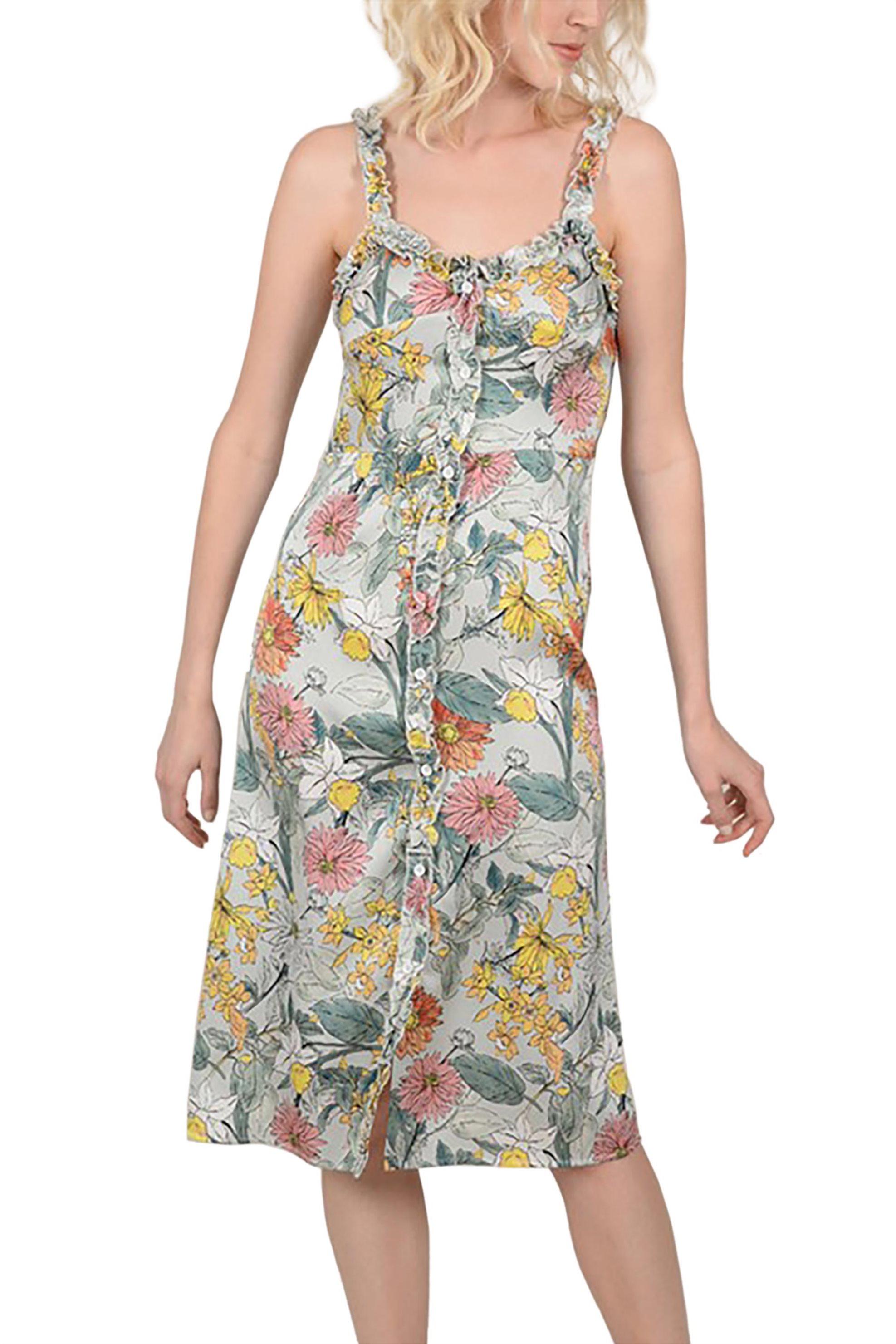 Molly Bracken γυναικείο midi φόρεμα εμπριμέ με βολάν - S19MB-LA249 - Γαλάζιο γυναικα   ρουχα   φορέματα   midi φορέματα