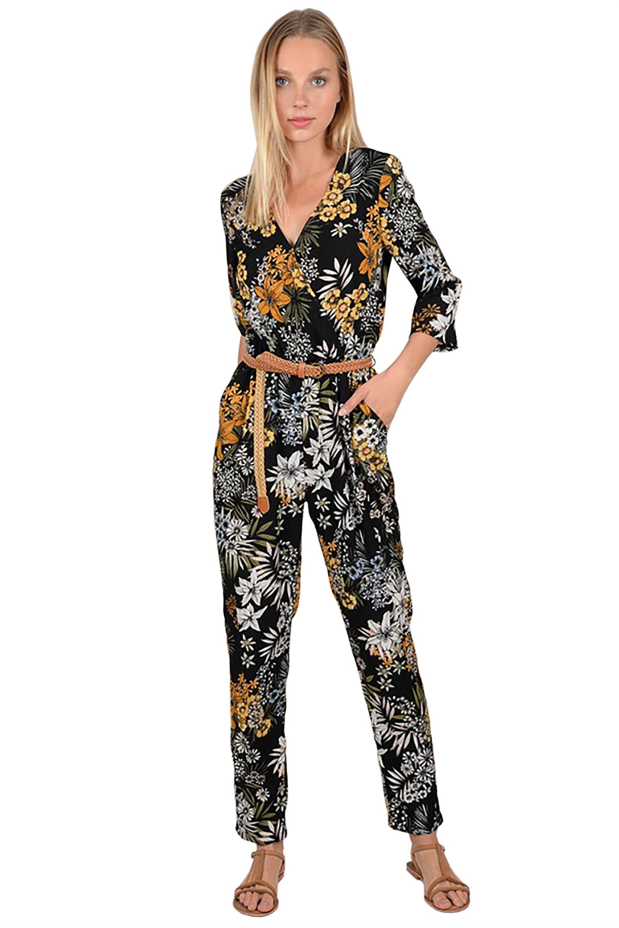 Molly Bracken γυναικεία εμπριμέ ολόσωμη φόρμα με πλεκτή ζώνη - S19MB-P983A - Μαύ γυναικα   ρουχα   ολόσωμες φόρμες   σαλοπέτες