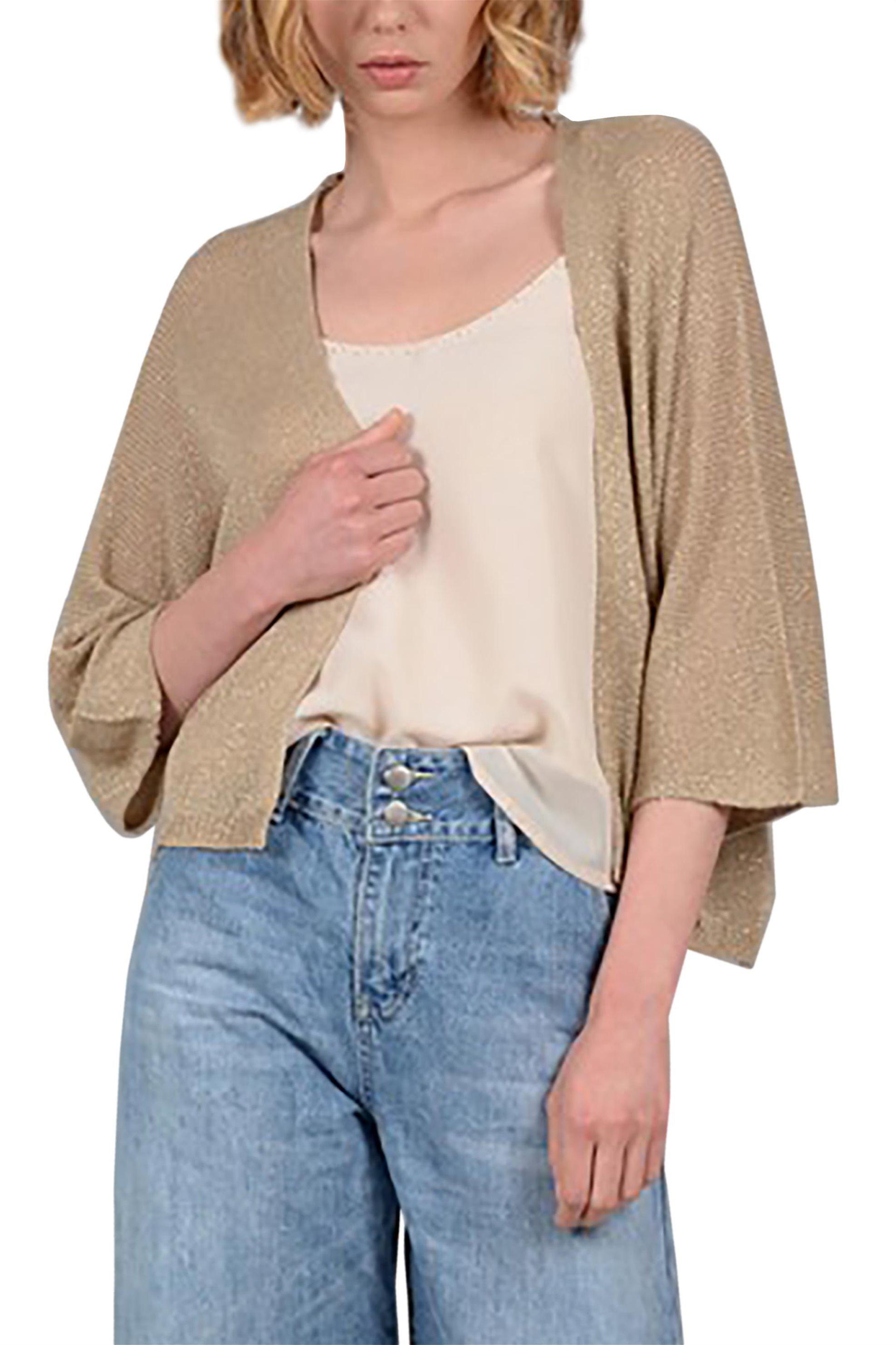 Molly Bracken γυναικεία πλεκτή ζακέτα με μεταλλικές ίνες - S19MB-S3644 - Χρυσό γυναικα   ρουχα   πλεκτά   ζακέτες