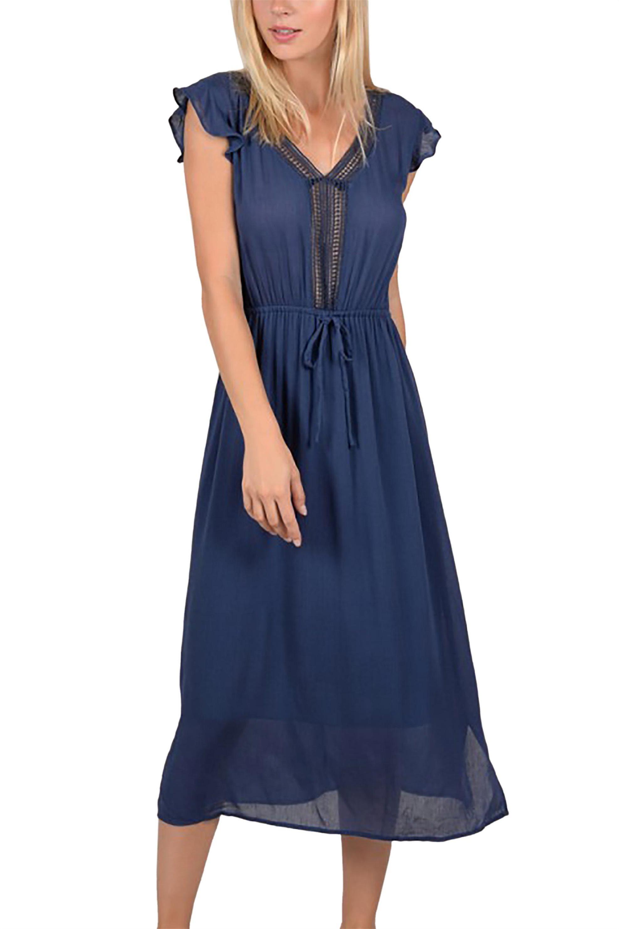 Molly Bracken γυναικείo midi φόρεμα με πλεκτή λεπτομέρεια - S19MB-T189 - Μπλε Σκ γυναικα   ρουχα   φορέματα   midi φορέματα