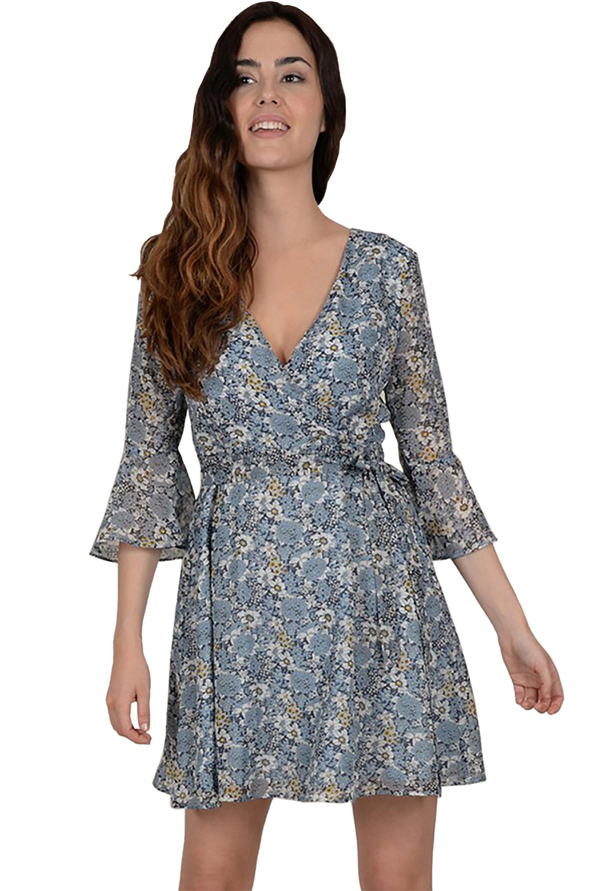 Molly Bracken γυναικείο εμπριμέ wrap mini φόρεμα με ζωνάκι - S19MB-T824A - Γαλάζ γυναικα   ρουχα   φορέματα   mini φορέματα