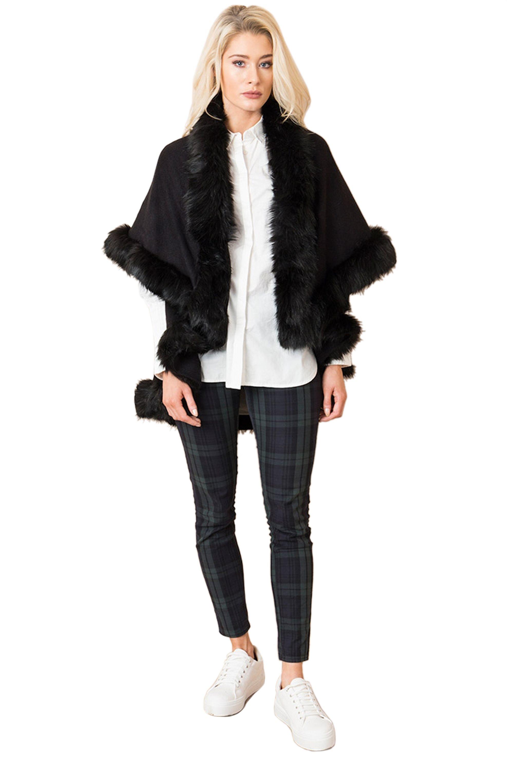 Pia Possini γυναικεία κάπα Anabelle με faux γούνα - ANA007 - Μαύρο γυναικα   ρουχα   πανωφόρια   κάπες
