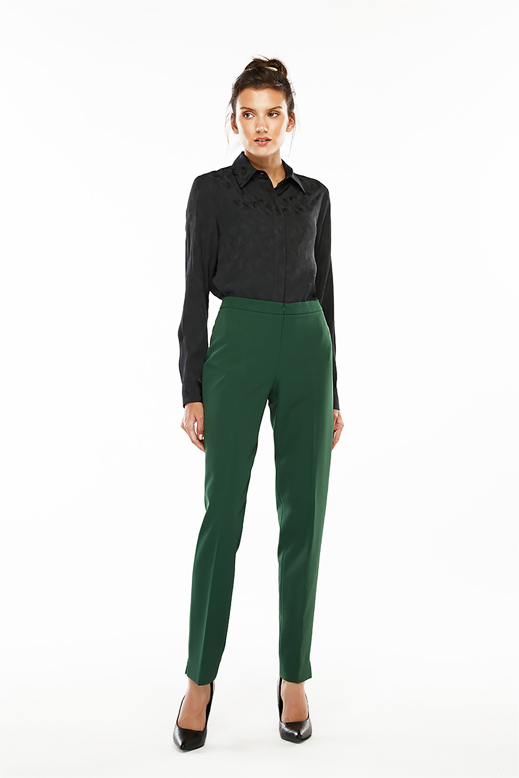 Jupe γυναικείο παντελόνι μονόχρωμο Straight Fit - 21.2O2.J03.001 - Πράσινο