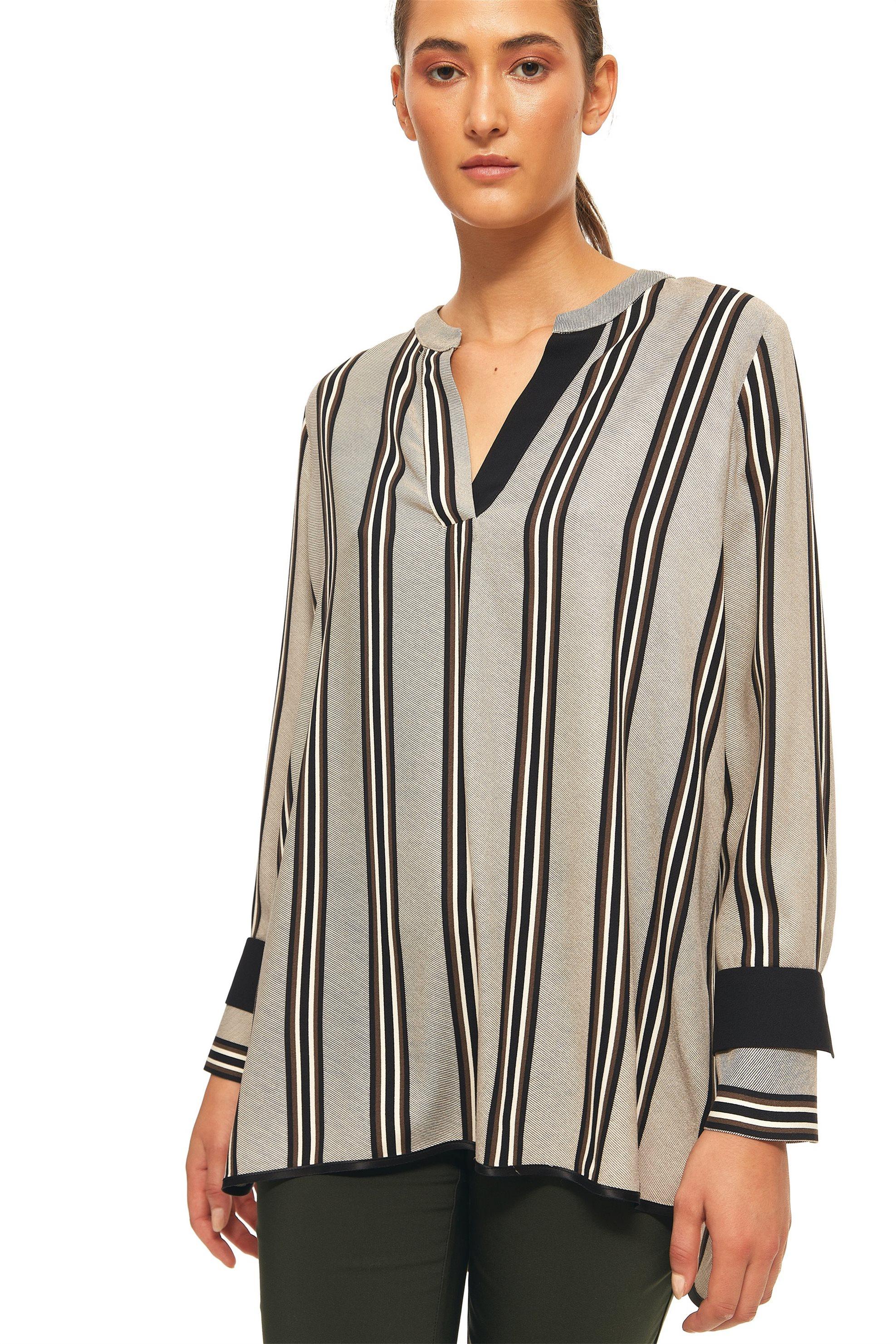 Bella P γυναικεία μπλούζα με λαιμόκοψη V και ρίγες loose fit - 21.182.Β04.105 -  γυναικα   ρουχα   tops   πουκάμισα   μπλούζες   casual   πουκαμίσες   καφτάνια