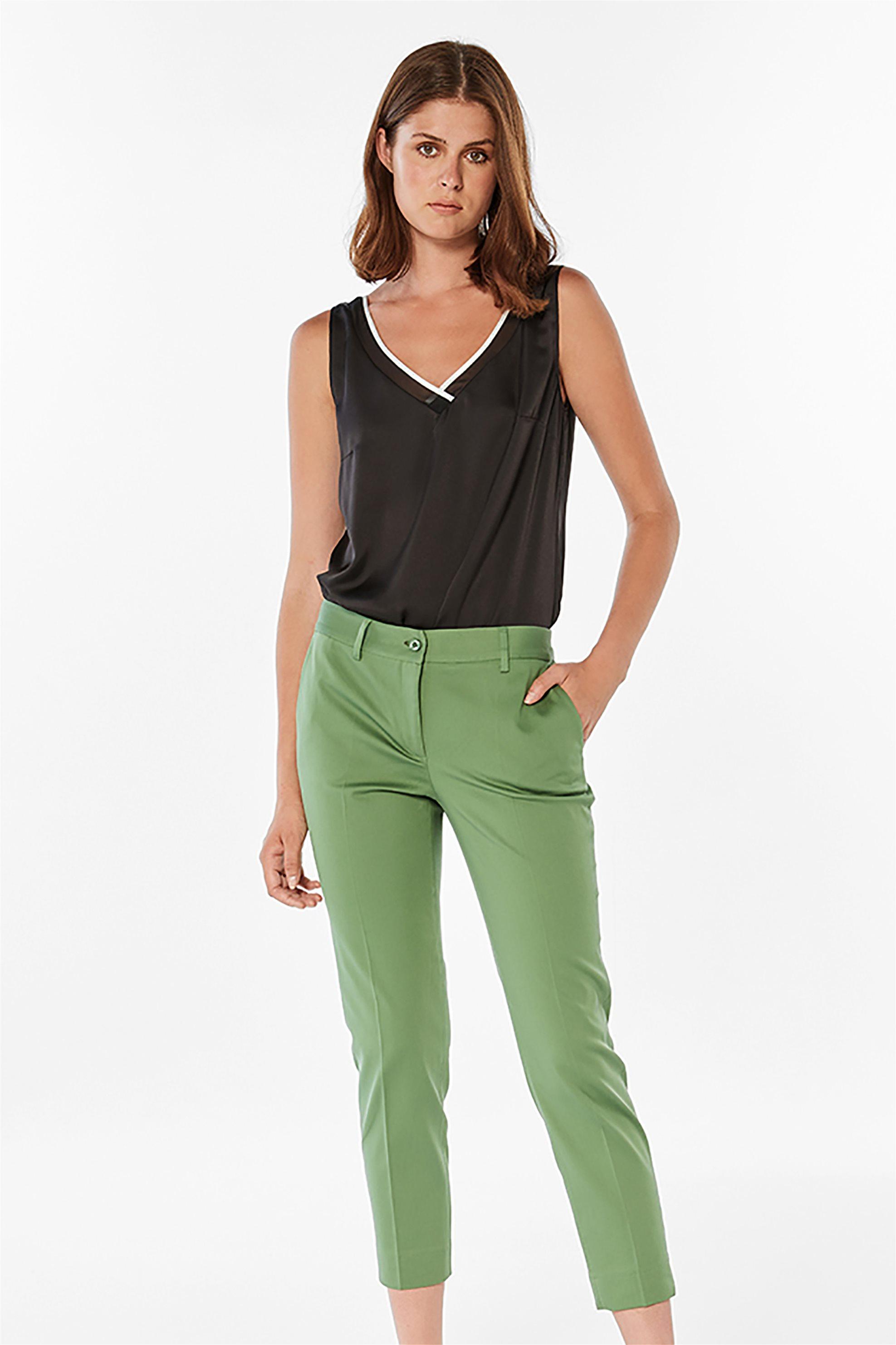 Bella P γυναικείο παντελόνι cropped μονόχρωμο - 21.211.Β03.110 - Πράσινο