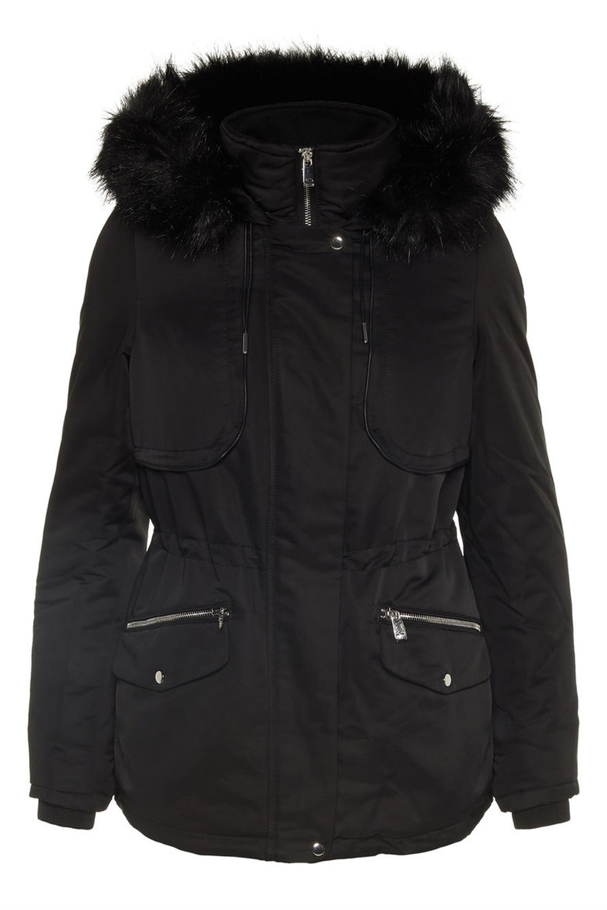 VERO MODA γυναικείο μπουφάν μαύρο με κουκούλα και faux γούνα - 10199088 - Μαύρο γυναικα   ρουχα   πανωφόρια   μπουφάν   σακάκια   μπουφάν
