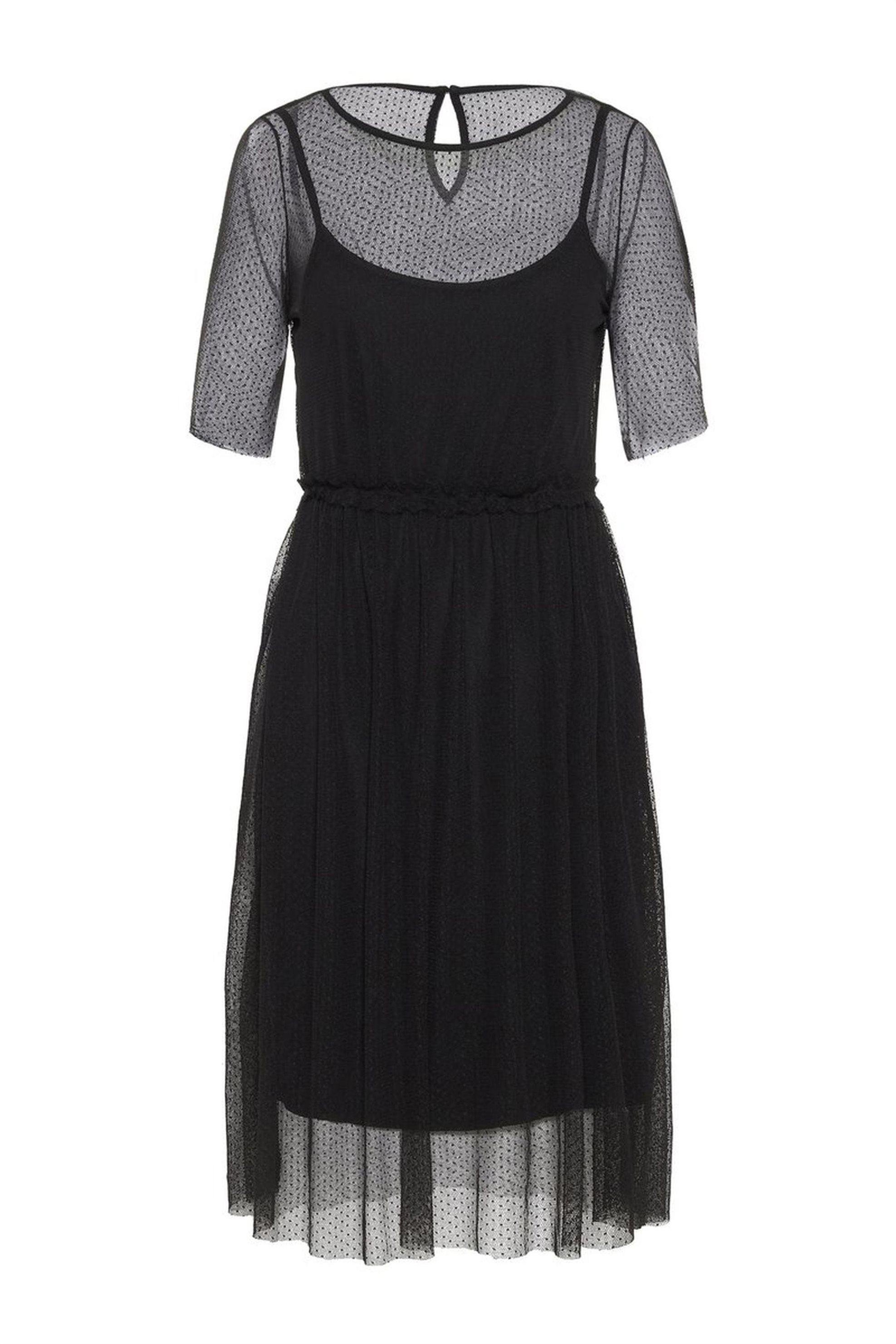 VERO MODA γυναικείο φόρεμα με πουά διαφάνεια - 10213634 - Μαύρο γυναικα   ρουχα   φορέματα   midi φορέματα