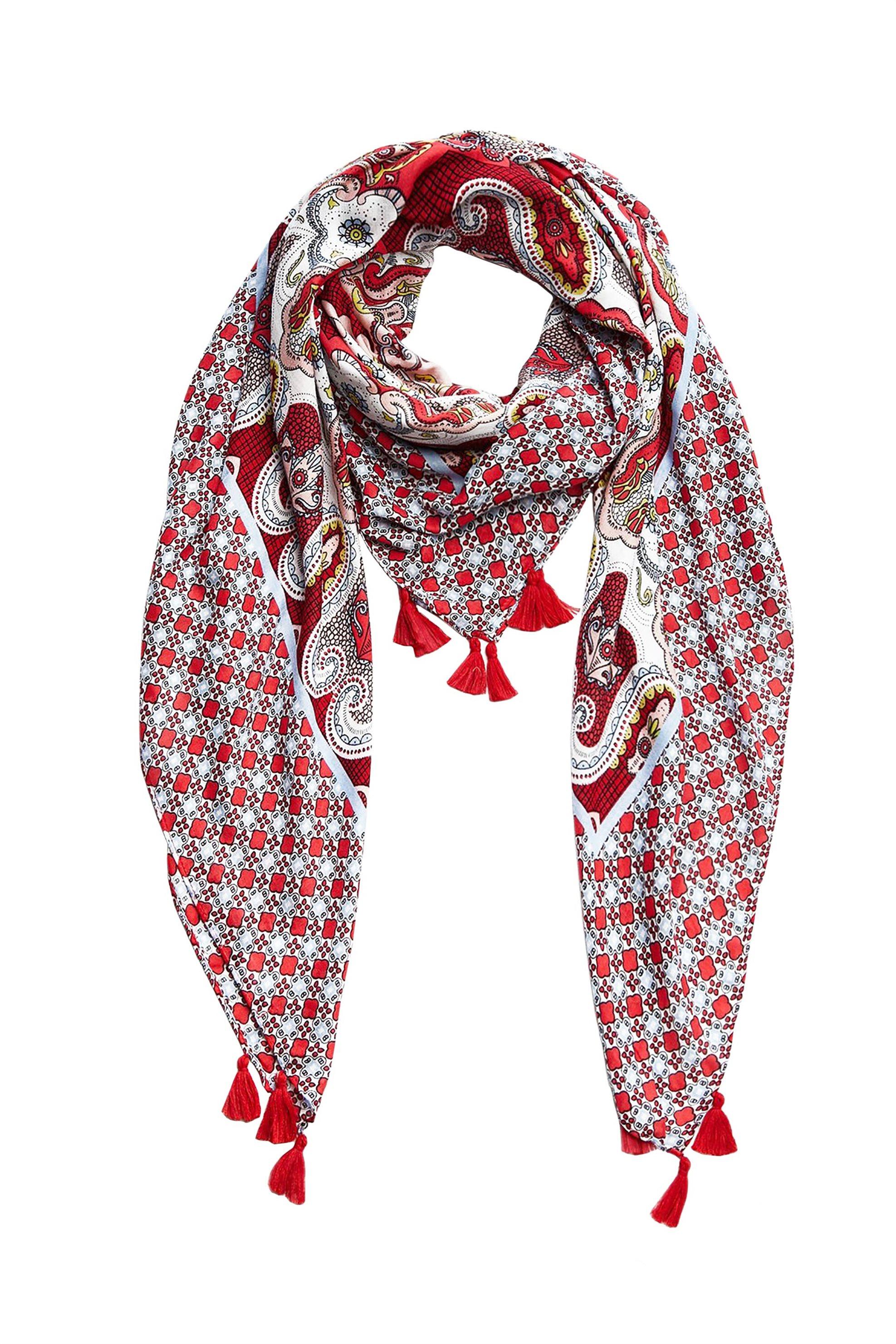 PIECES γυναικείo φουλάρι με λαχούρια και φόυντες - 17095929 - Κόκκινο γυναικα   αξεσουαρ   κασκόλ   μαντήλια