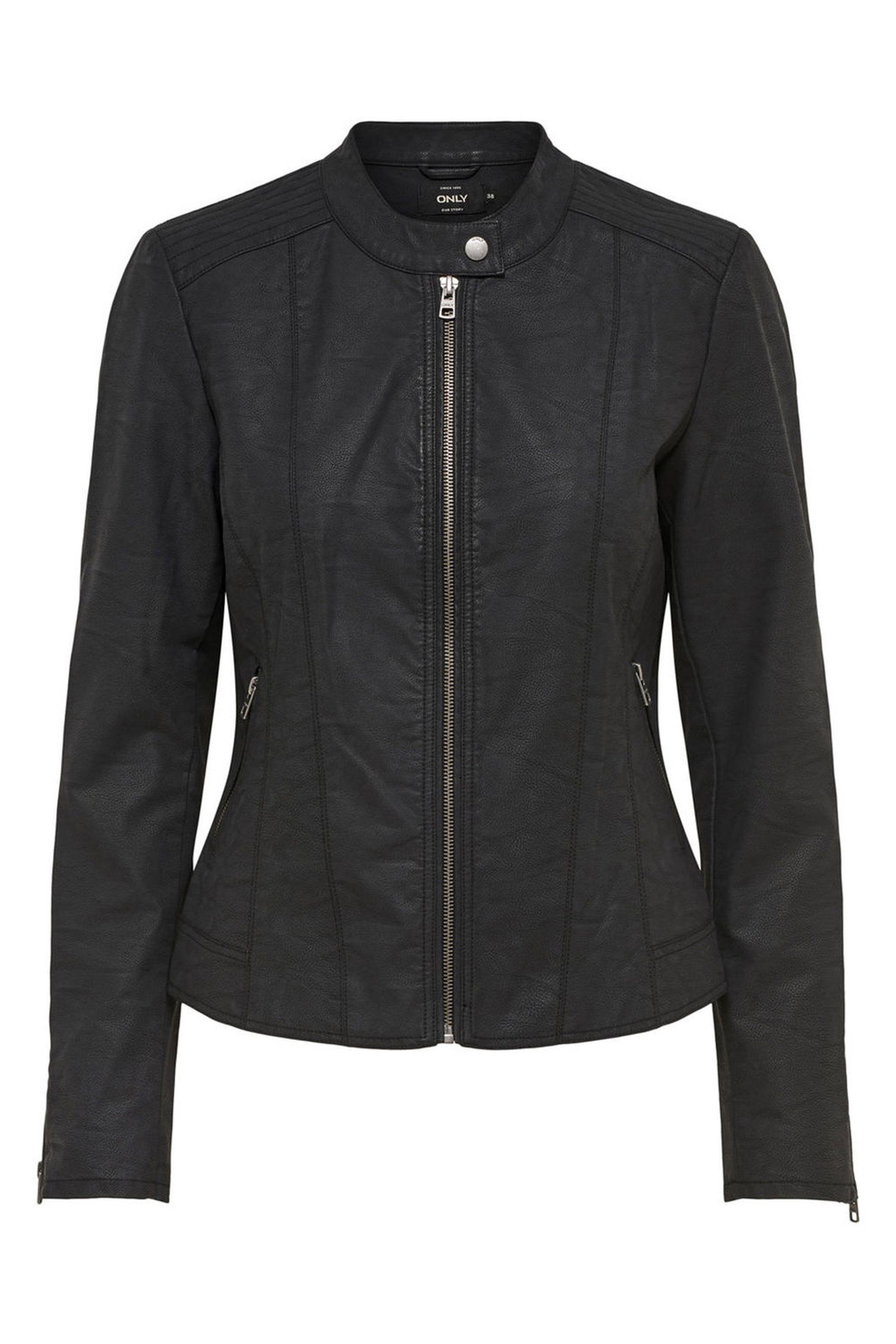 ΟNLY γυναικείο jacket Biker faux leather jacket - 15156494 - Μαύρο γυναικα   ρουχα   πανωφόρια   μπουφάν   σακάκια   δερμάτινα   faux δέρμα