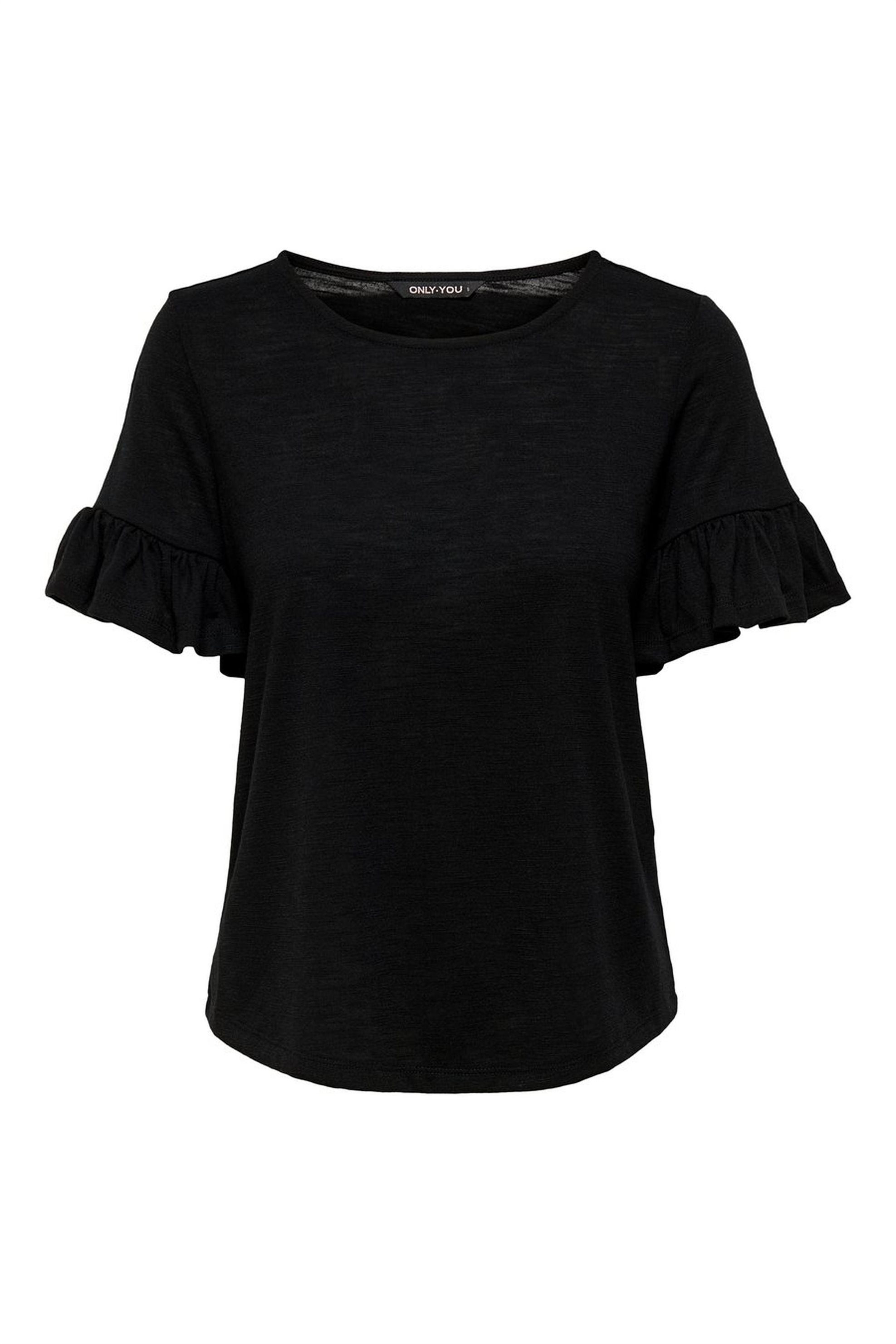 ΟNLY γυναικεία μπλούζα με μανίκι βολάν - 15169387 - Μαύρο γυναικα   ρουχα   tops   μπλούζες   casual