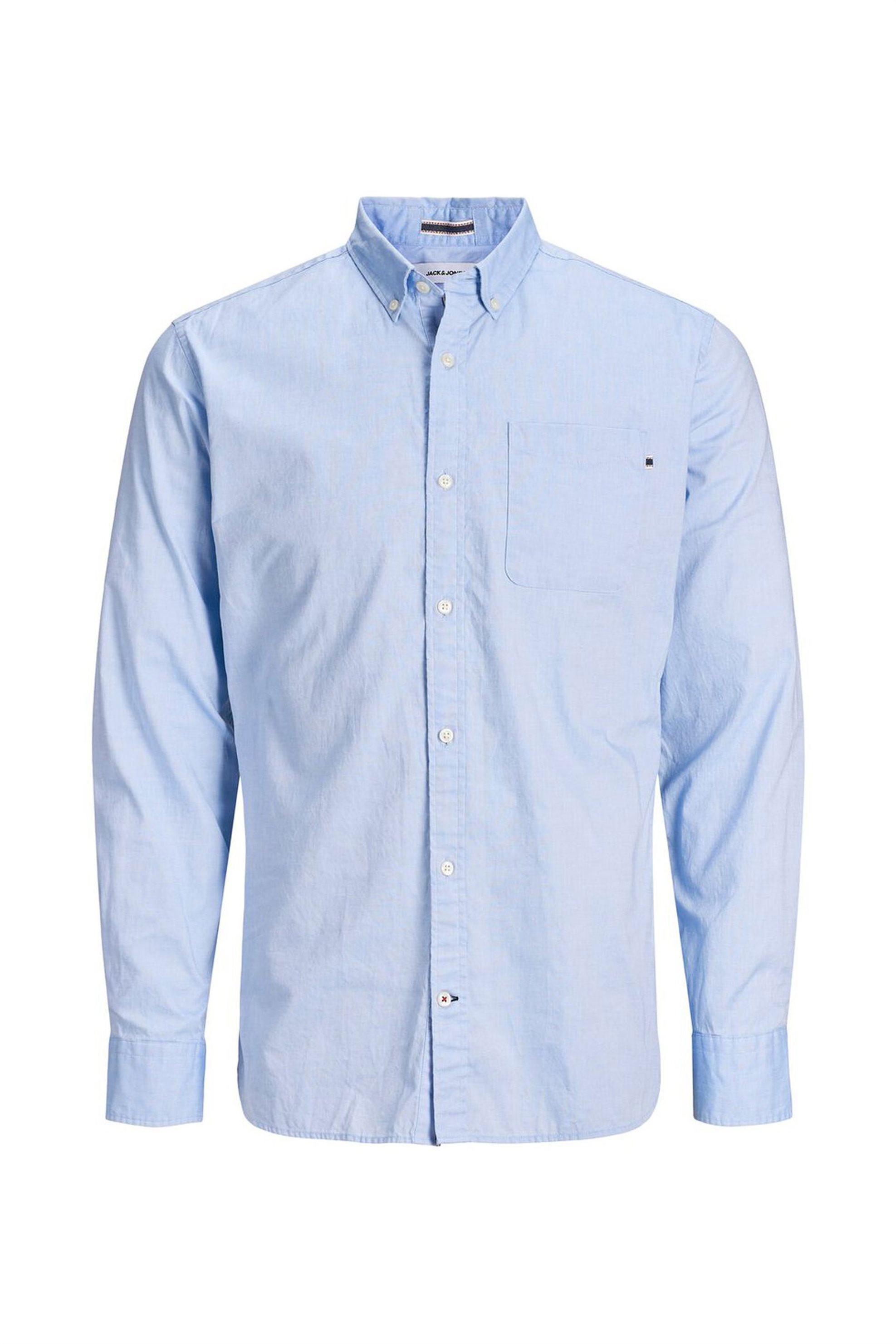 JACK & JONES ανδρικό πουκάμισο με button down γιακά - 12172736 - Γαλάζιο