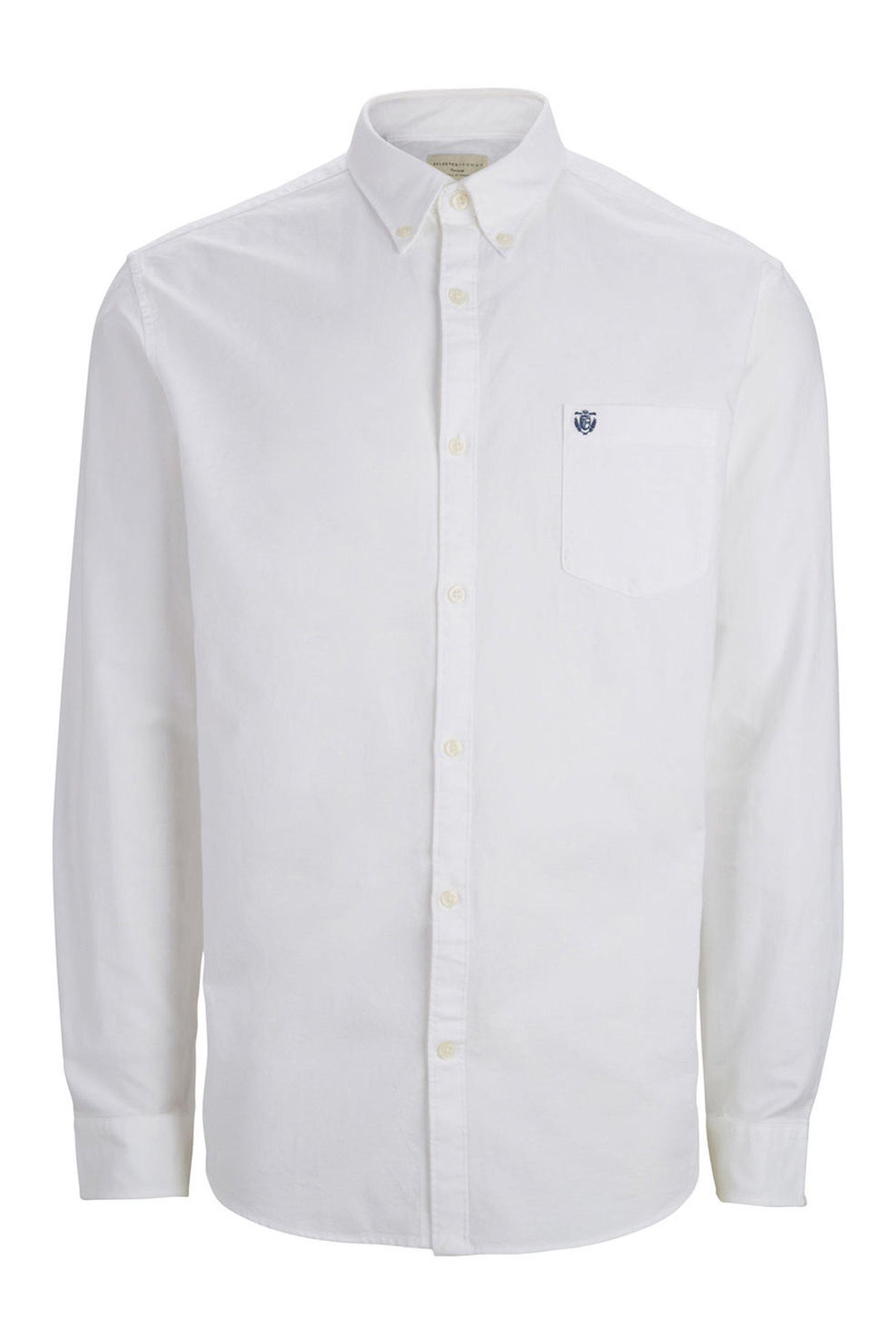 ab133b855933 SELECTED ανδρικό πουκάμισο Oxford - 16040493 - Λευκό