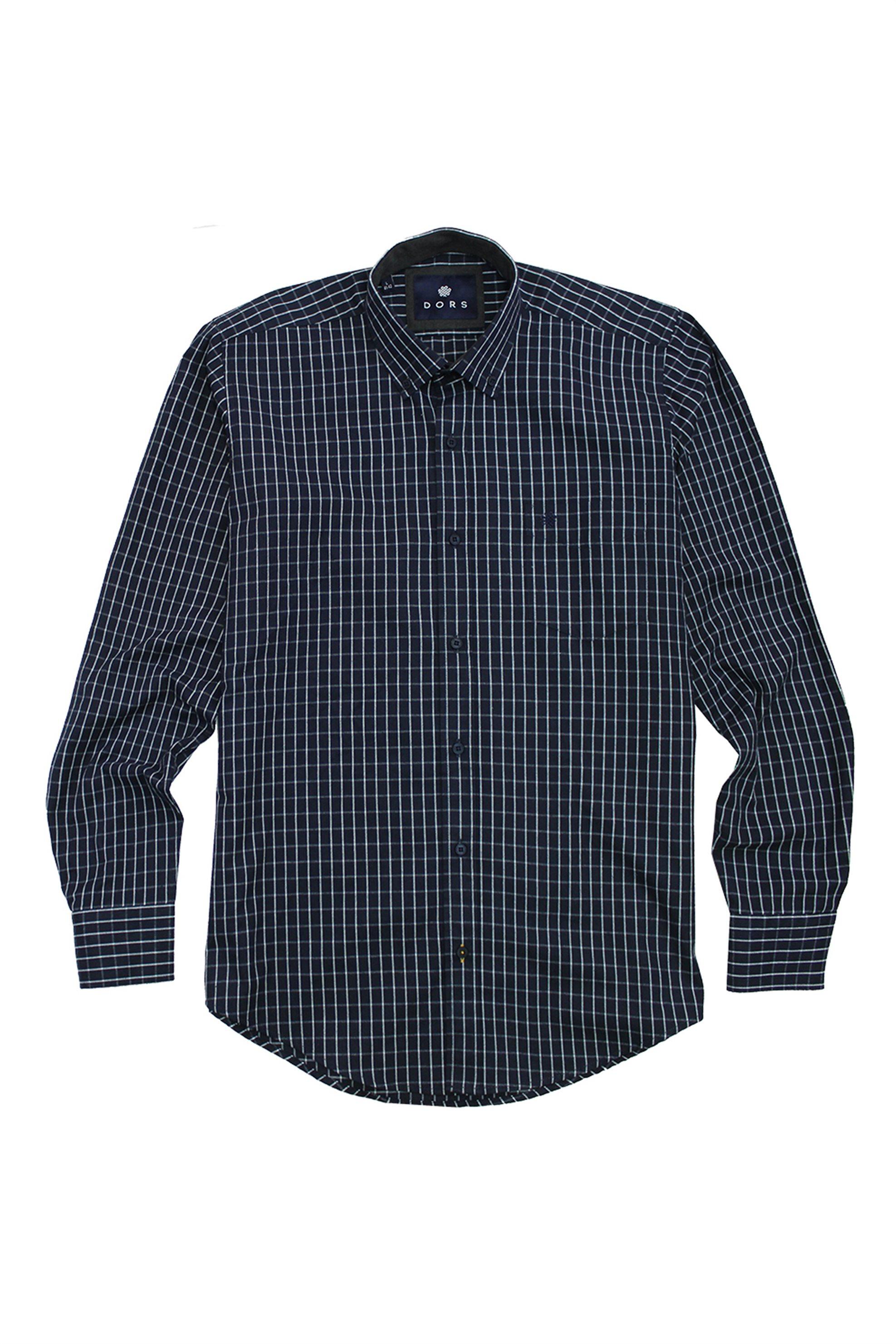DORS ανδρικό καρό πουκάμισο με τσέπη και κεντημένο λογότυπο - 1029028.C01 - Μπλε Σκούρο