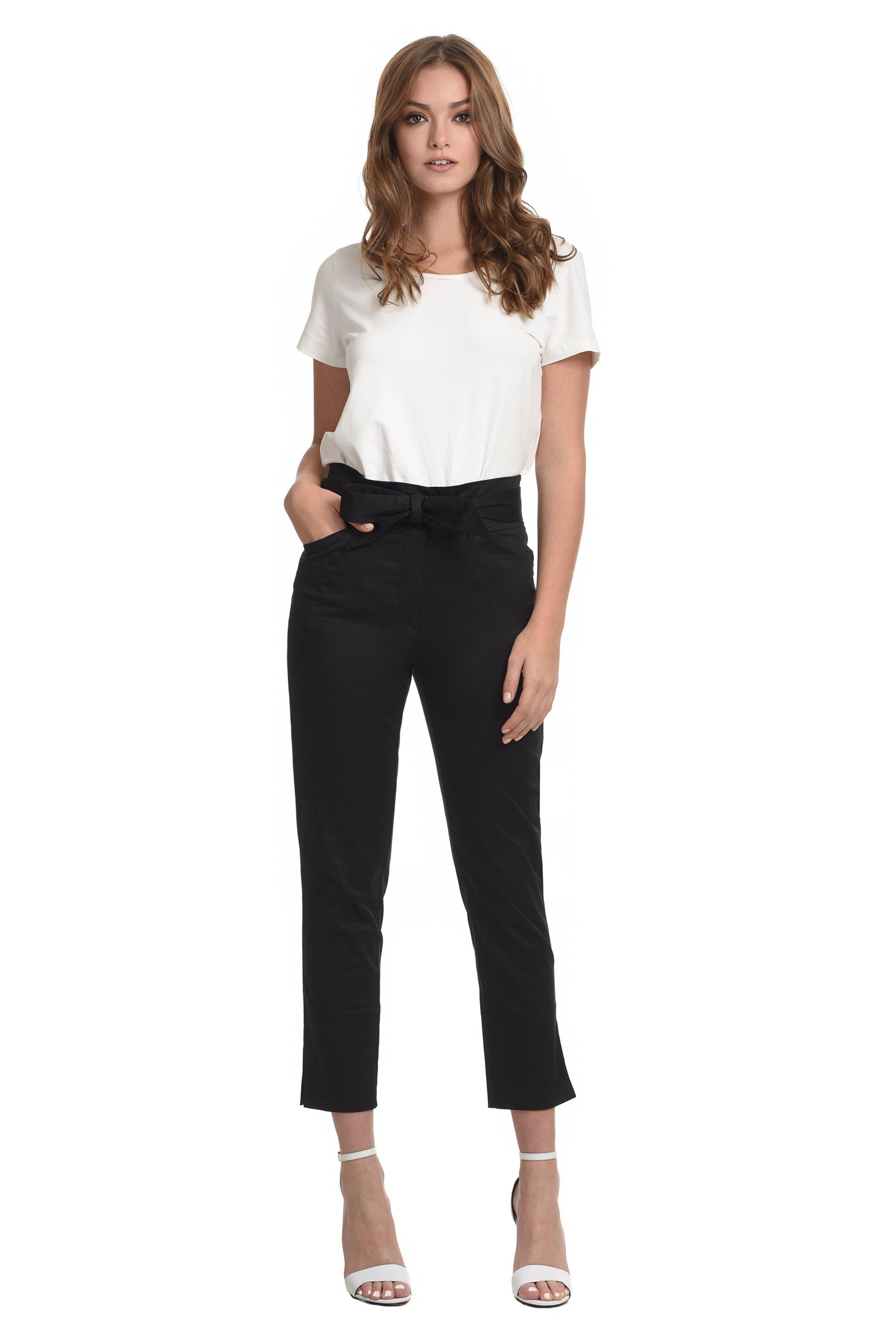 Sarah Lawrence Jeans γυναικείο υφασμάτινο παντελόνι ψηλόμεσο με ζώνη - 2-900066  γυναικα   ρουχα   παντελόνια   slim